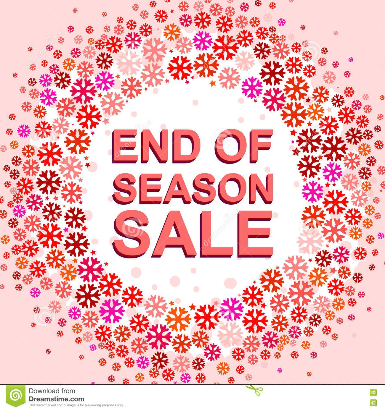 27975a9b77e Big winter sale poster with END OF SEASON SALE text. Advertising pink and  red vector banner template