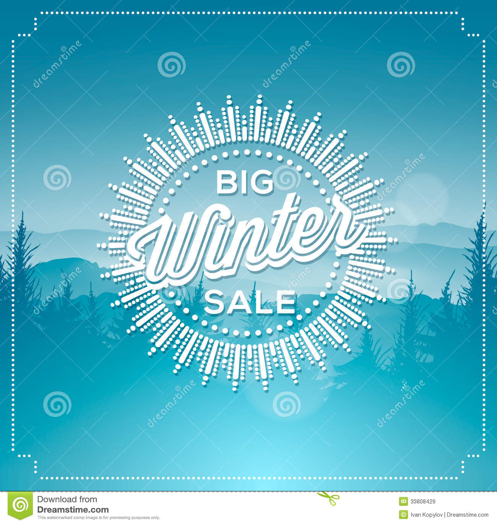 Big winter sale poster stock illustration. Image of