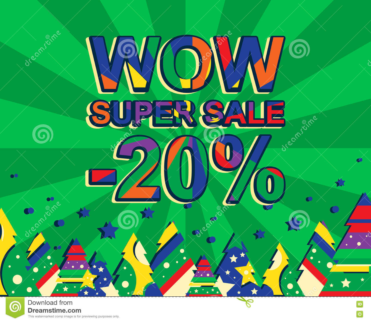 Big winter sale poster with wow super sale minus 20 percent text.