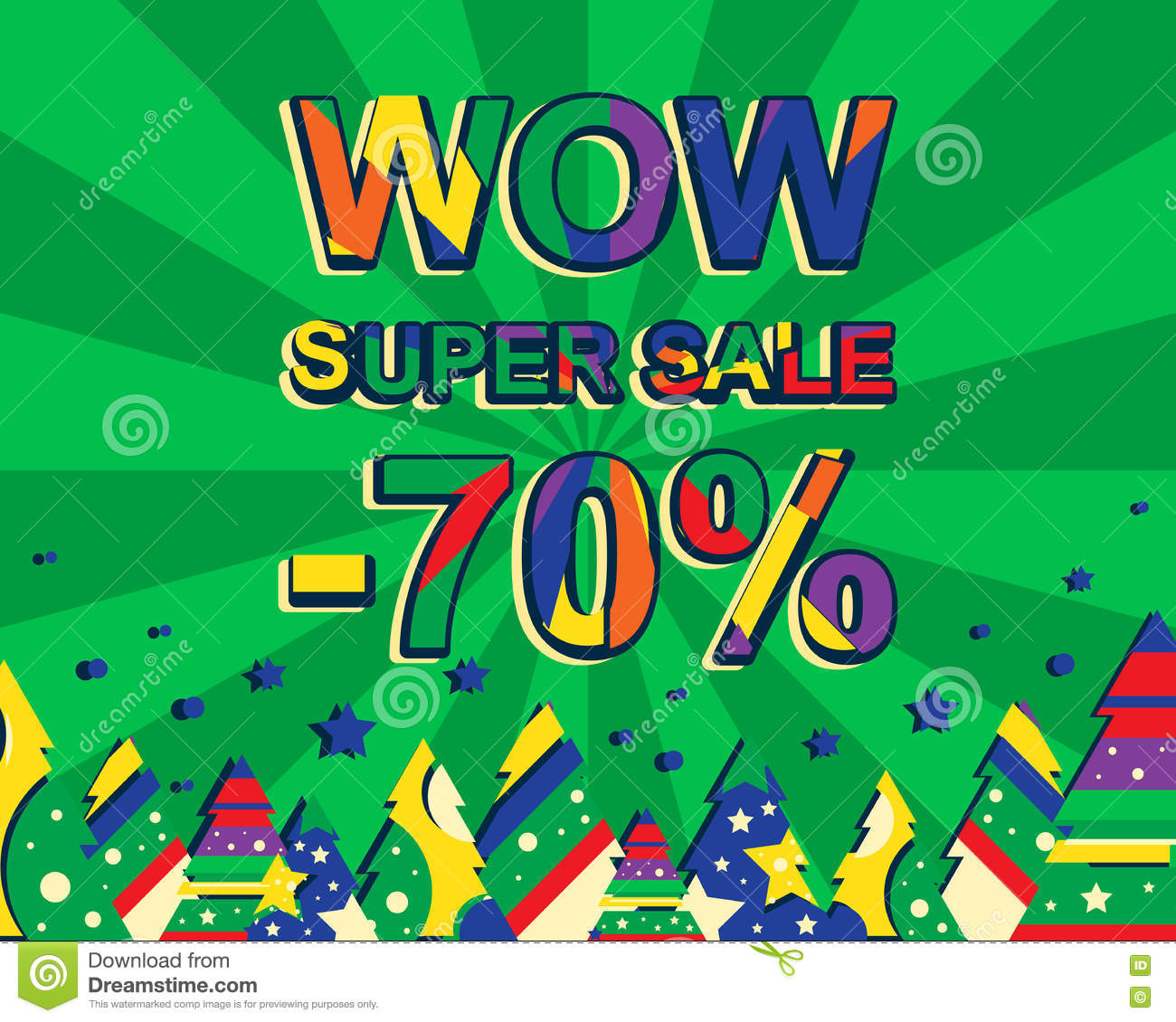 Big winter sale poster with wow super sale minus 70 percent text.