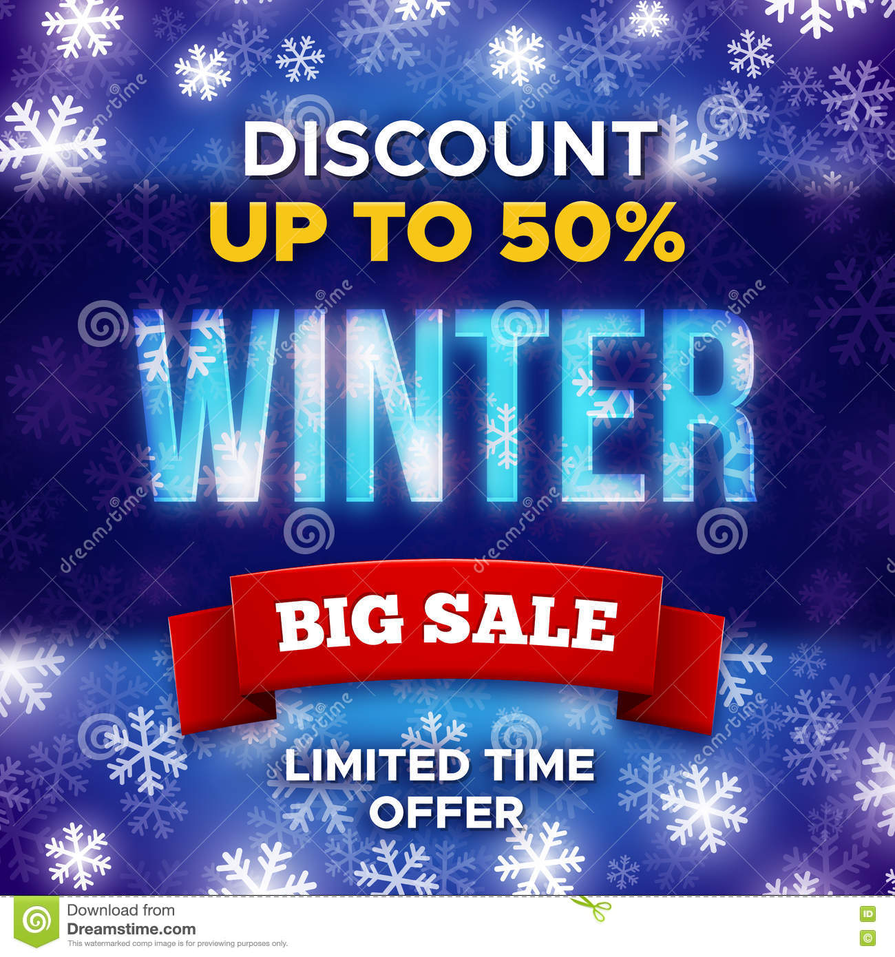 big winter sale promotion banner vector template stock vector