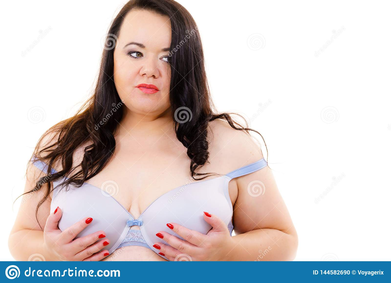 Mature chubby women in lingerie Big Woman Wearing Bra Stock Photo Image Of Touch Chubby 144582690