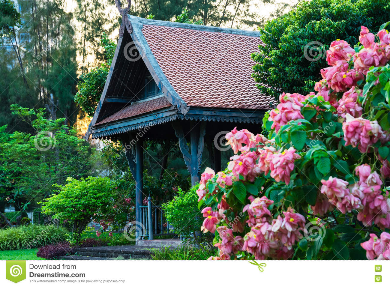 Big wooden asian country style pavilion in the beautiful garden big wooden asian country style pavilion in the beautiful garden izmirmasajfo