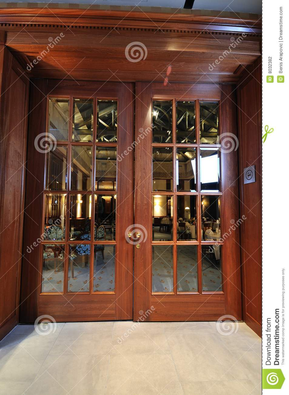 Big wooden door in restaurant stock photography image for Big entrance door