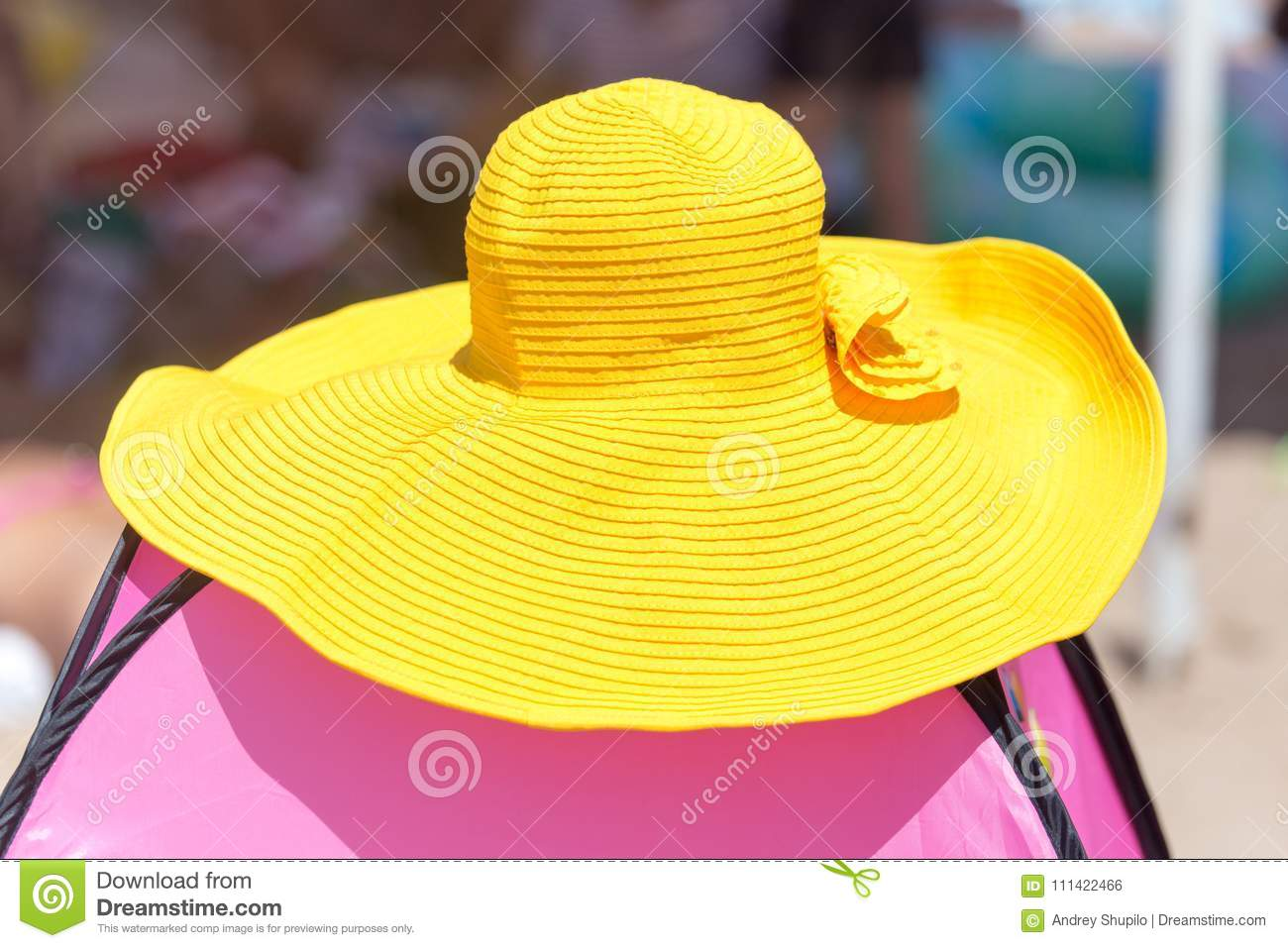Big Yellow Hat On The Beach Stock Photo Image Of Little Female