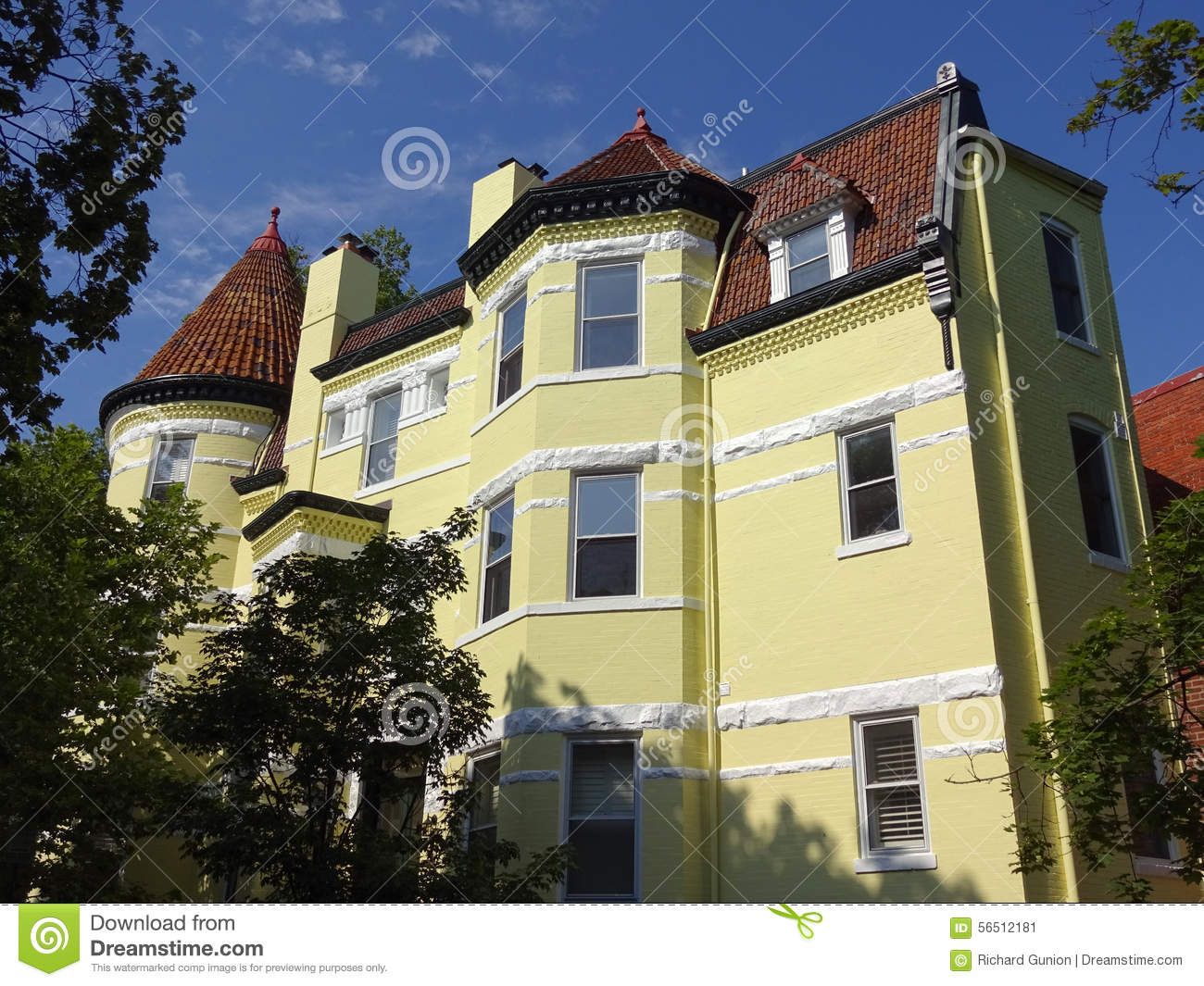 Big Yellow House In Georgetown Stock Photo Image 56512181