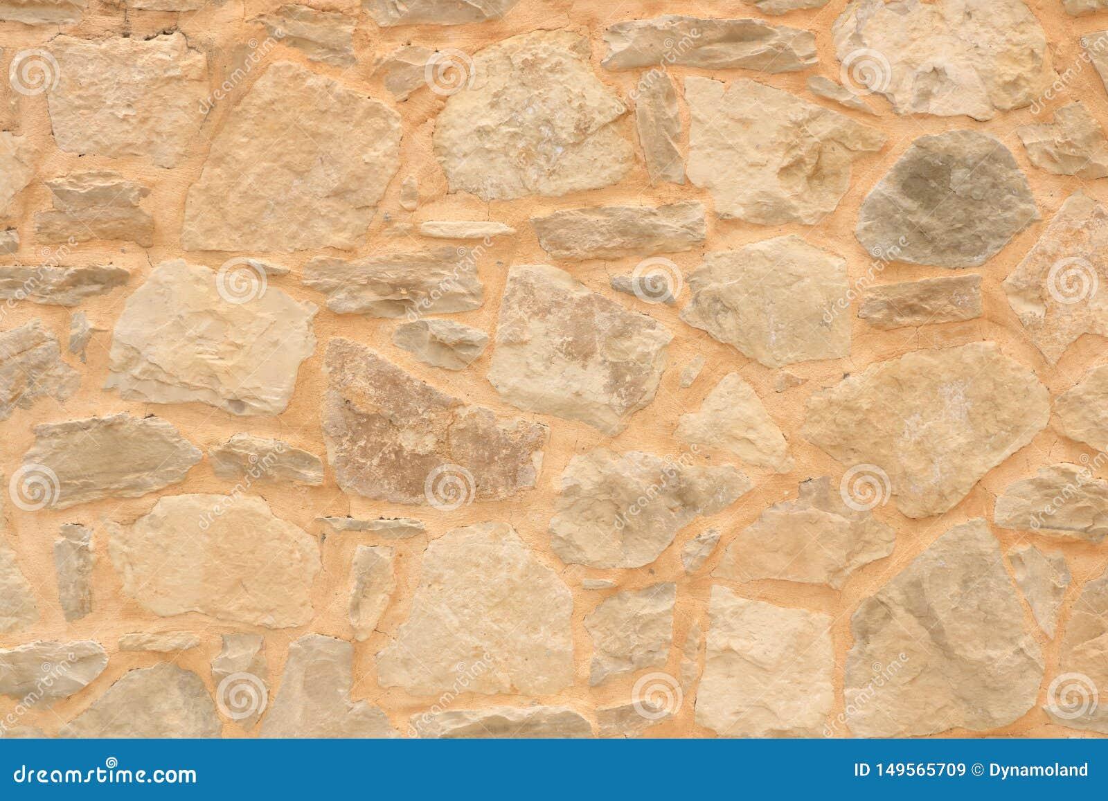 Big yellow wall from stone bricks