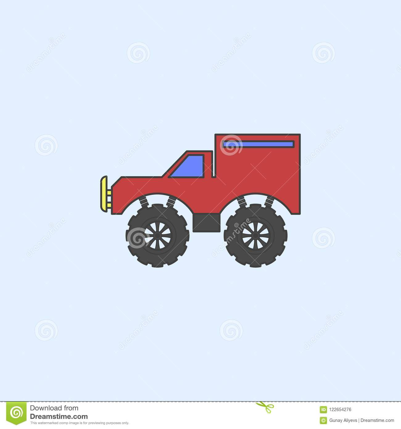 Bigfoot Car Field Outline Icon Element Of Monster Trucks Show For Mobile Concept And