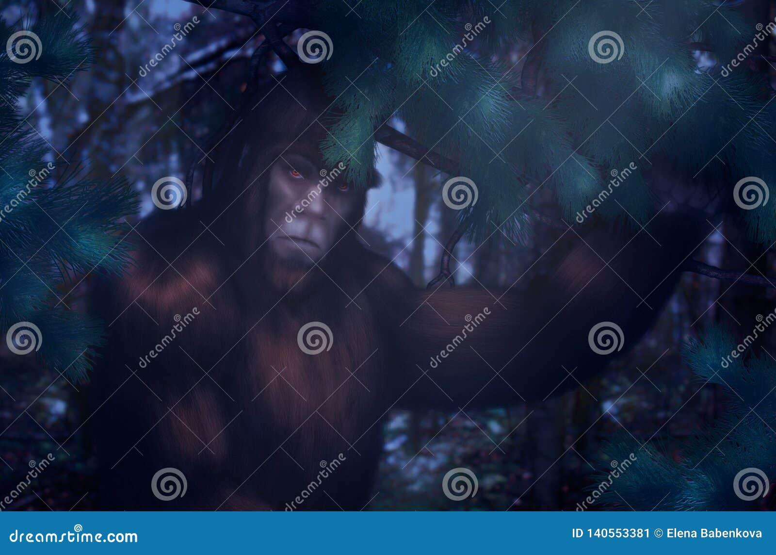 Bigfoot noc chuje w drewnach