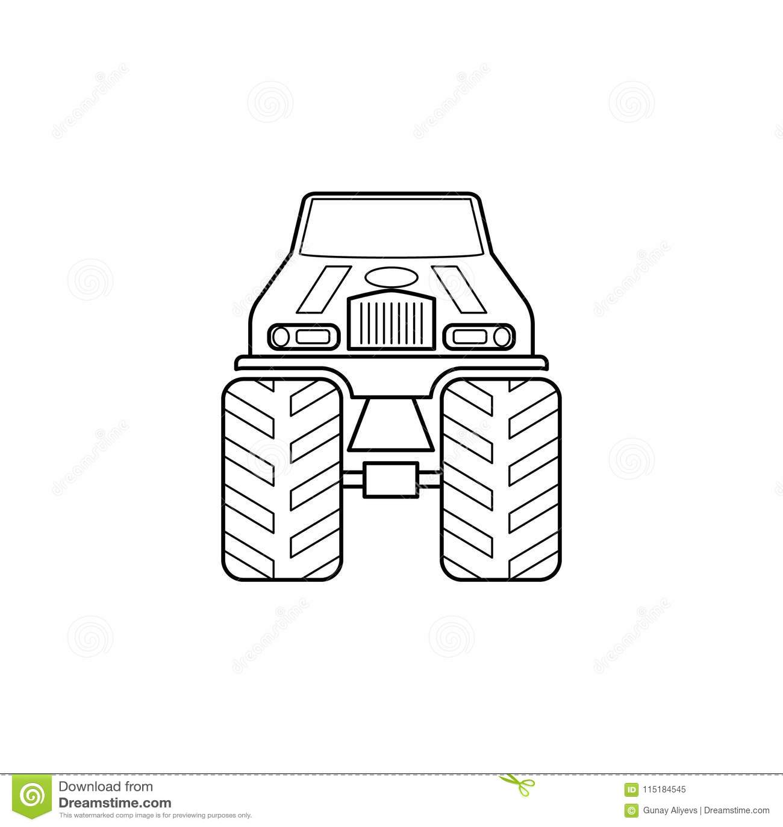 Bigfoot samochodu przodu ilustracja Element ekstremum ściga się dla mobilnych pojęcia i sieci apps Cienka kreskowa Bigfoot samoch