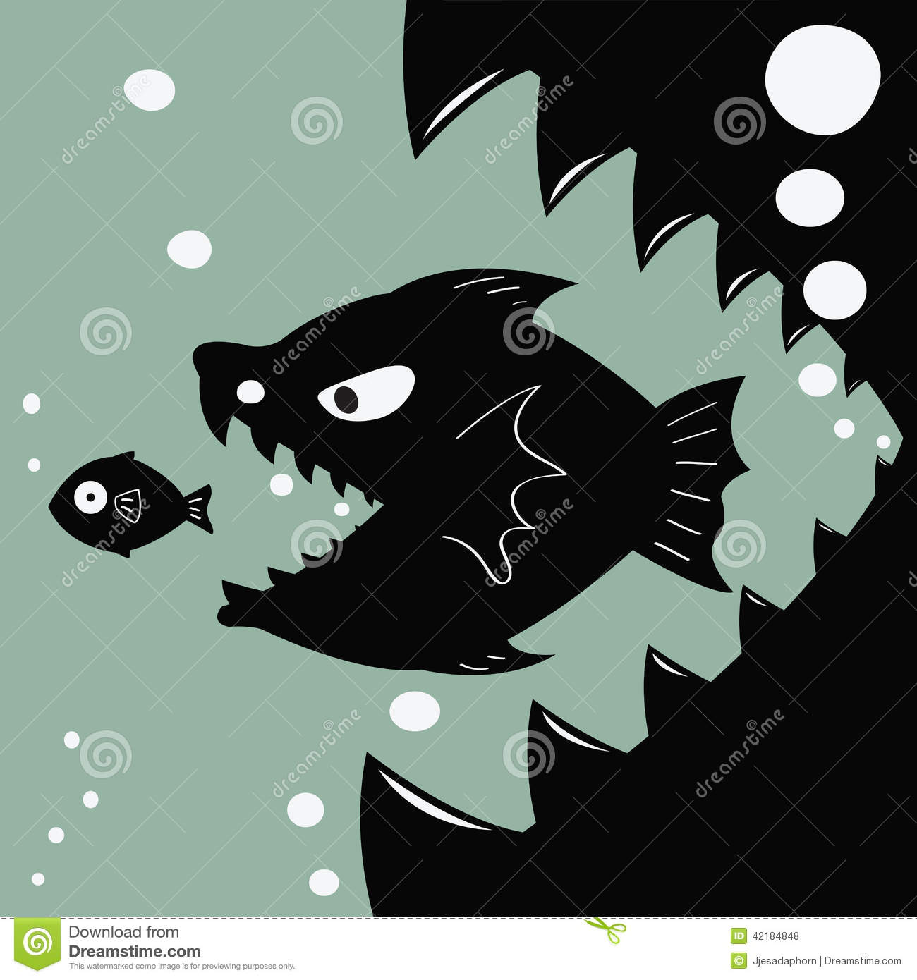 Bigger eat smaller stock vector image of merger concept for Fish that eat other fish