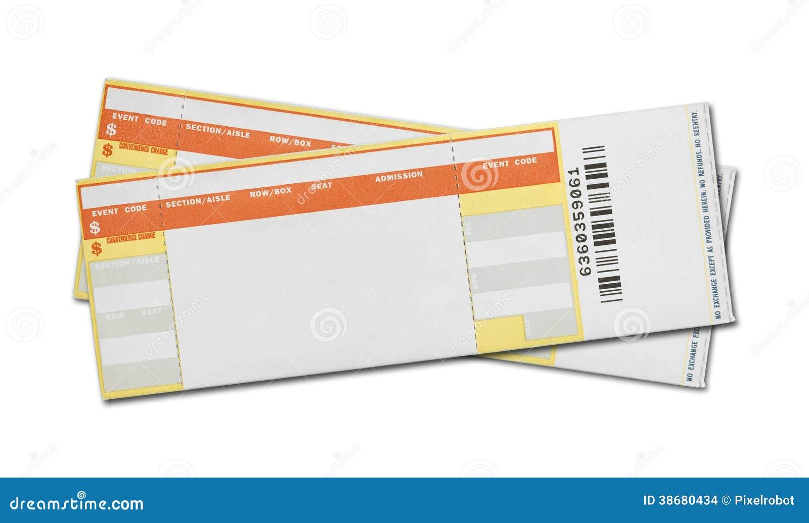 Biglietti in bianco di concerto