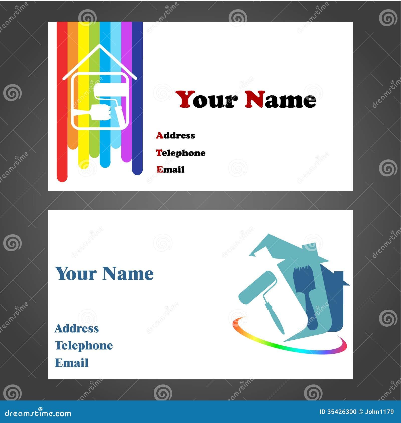 Eccezionale Biglietto Da Visita Per L'imbianchino Illustrazione Vettoriale  AP23