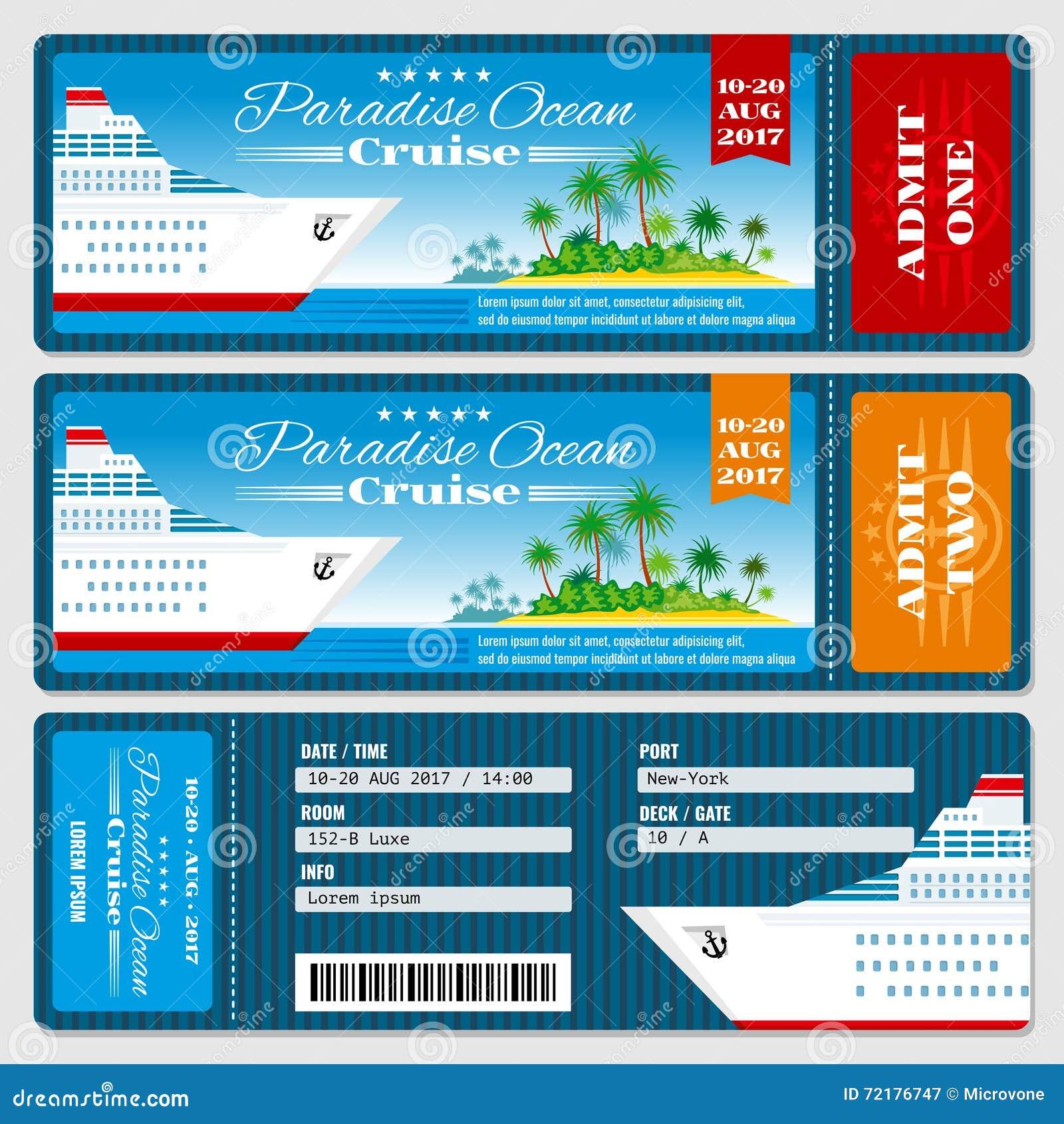 Biglietto del passaggio di imbarco della nave da crociera Modello di vettore dell invito di nozze di luna di miele