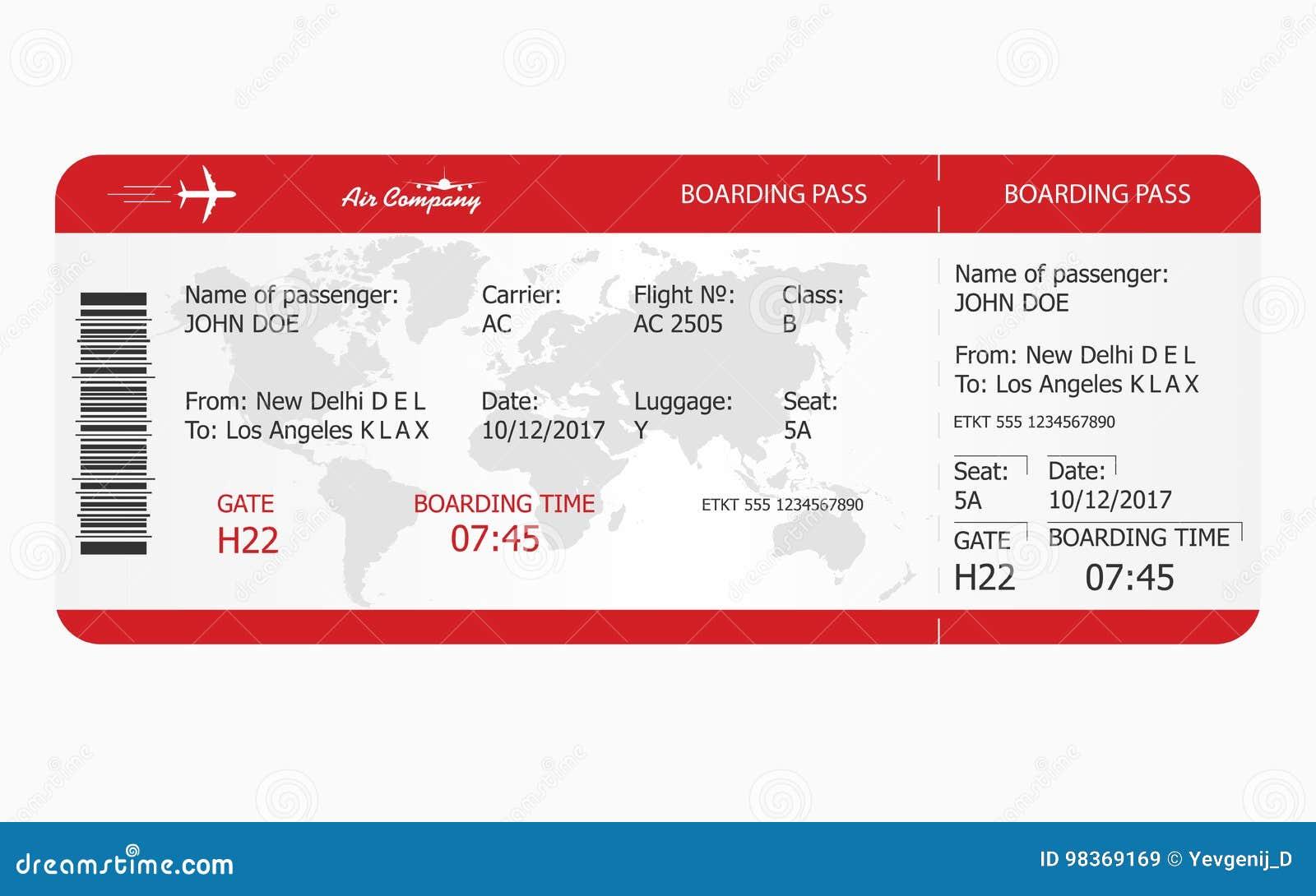 Biglietto di aeroplano Modello del biglietto del passaggio di imbarco