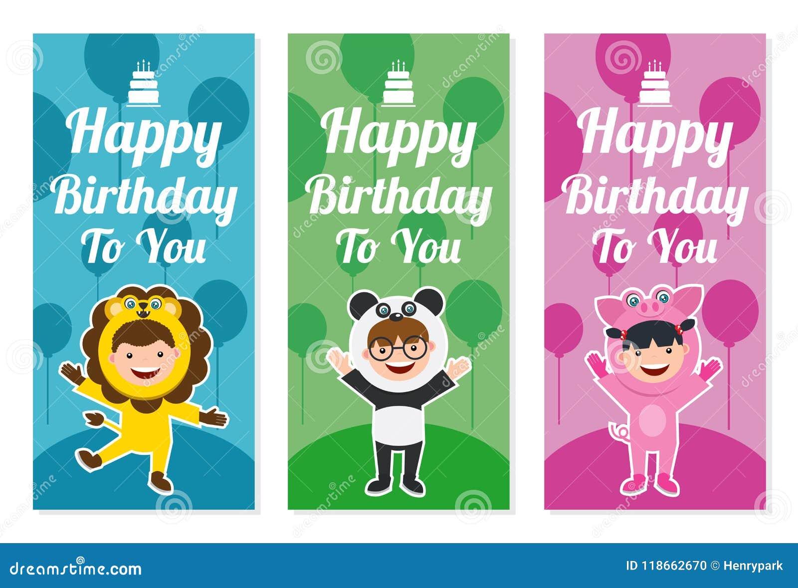 Biglietto Di Auguri Per Il Compleanno Con I Bambini In Costume