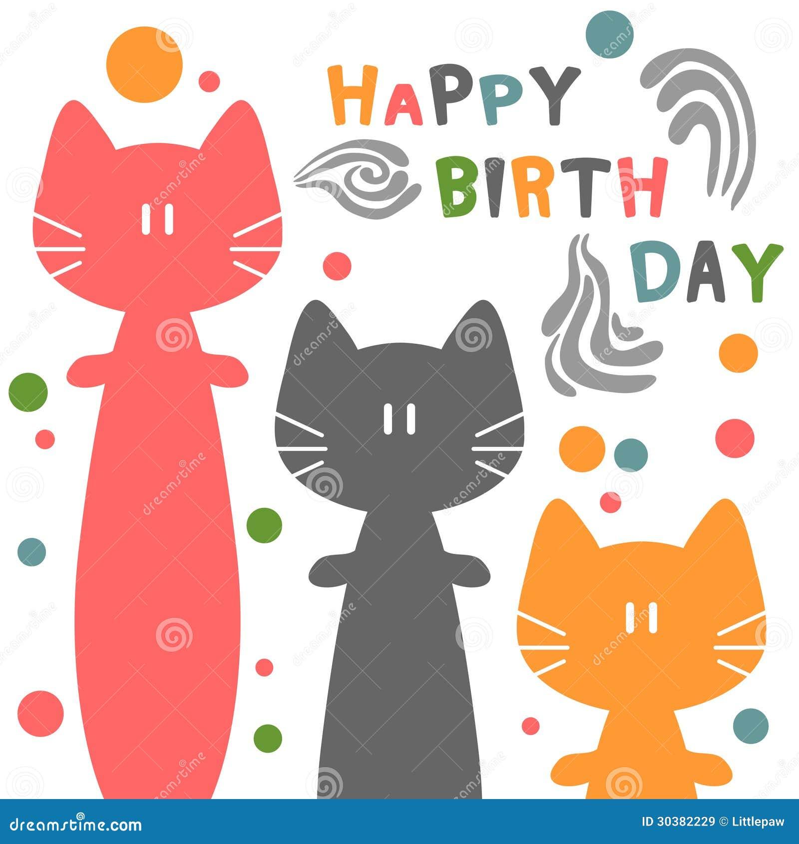 biglietto di auguri per il compleanno con i gatti illustrazione vettoriale illustrazione di. Black Bedroom Furniture Sets. Home Design Ideas