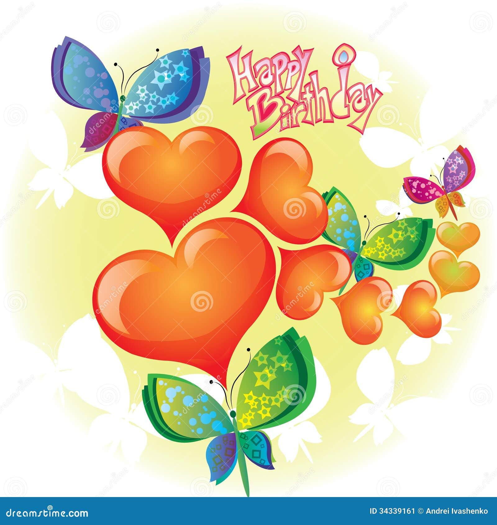 Connu Biglietto Di Auguri Per Il Compleanno Con La Farfalla Ed I Cuori  QX25