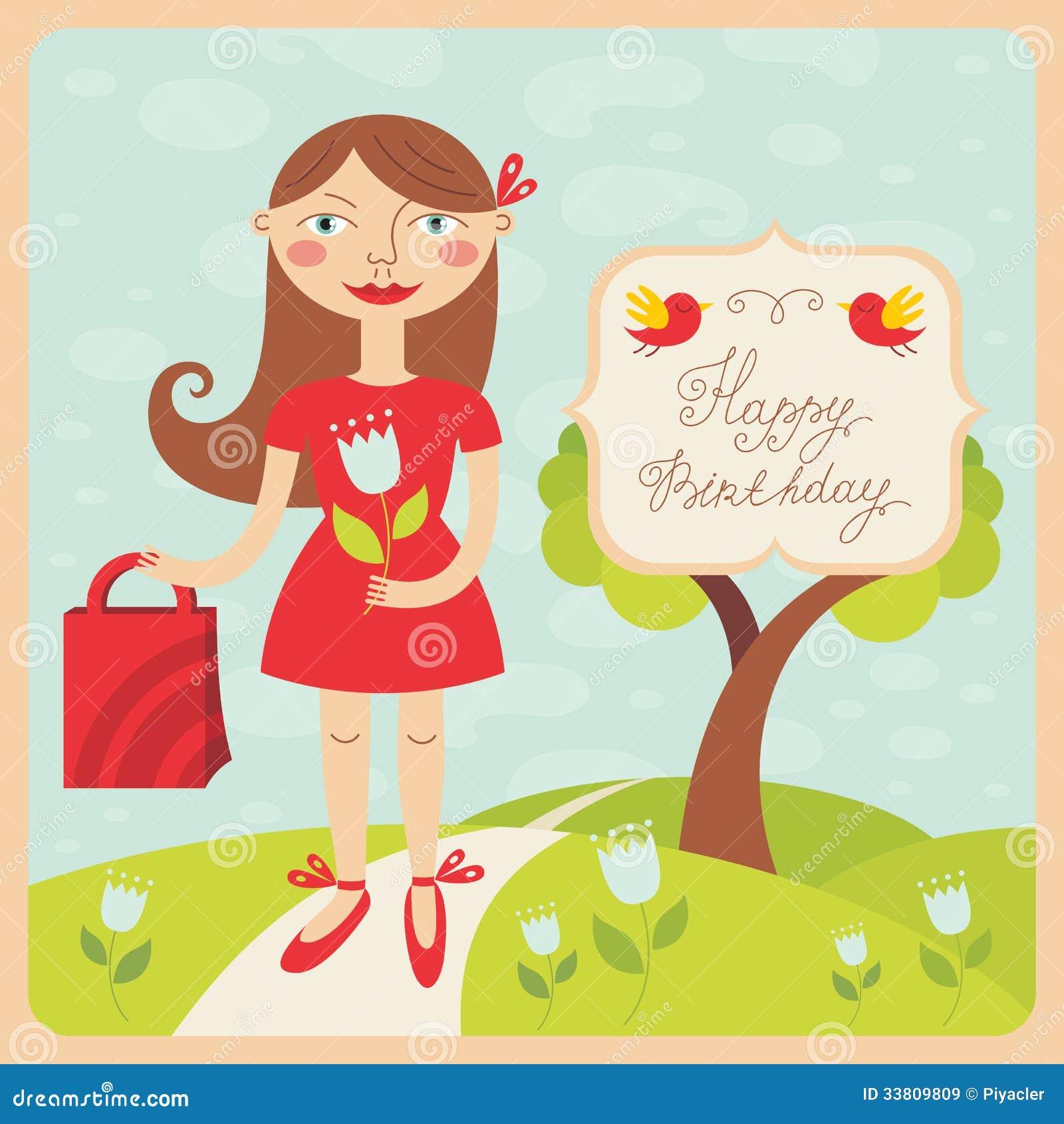 Biglietto Di Auguri Per Il Compleanno Con La Ragazza Illustrazione