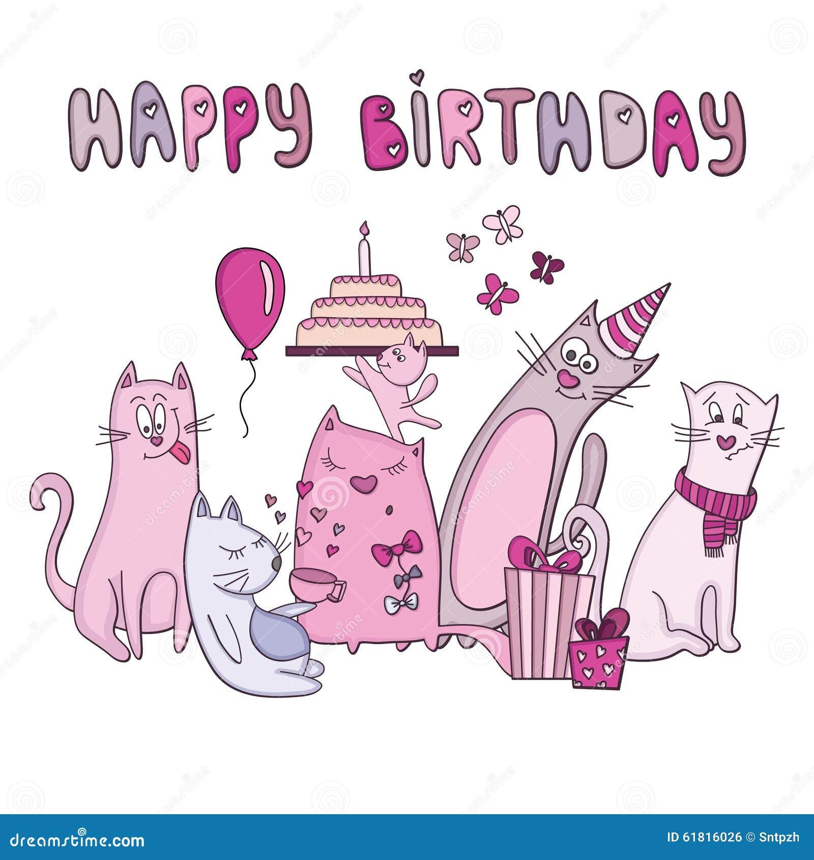 Souvent Biglietto Di Auguri Per Il Compleanno Con I Gatti Immagini Stock  CH76