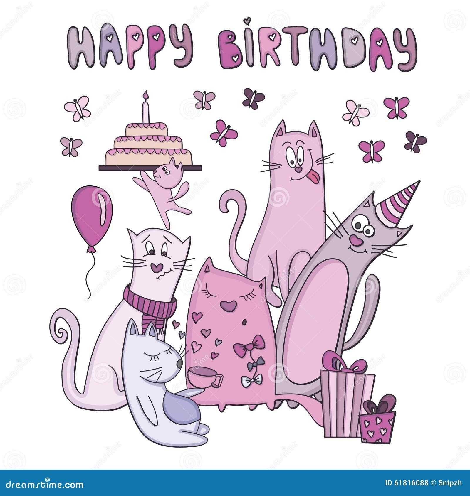 Bien-aimé Biglietto Di Auguri Per Il Compleanno Di Vettore Con I Gatti  VD87