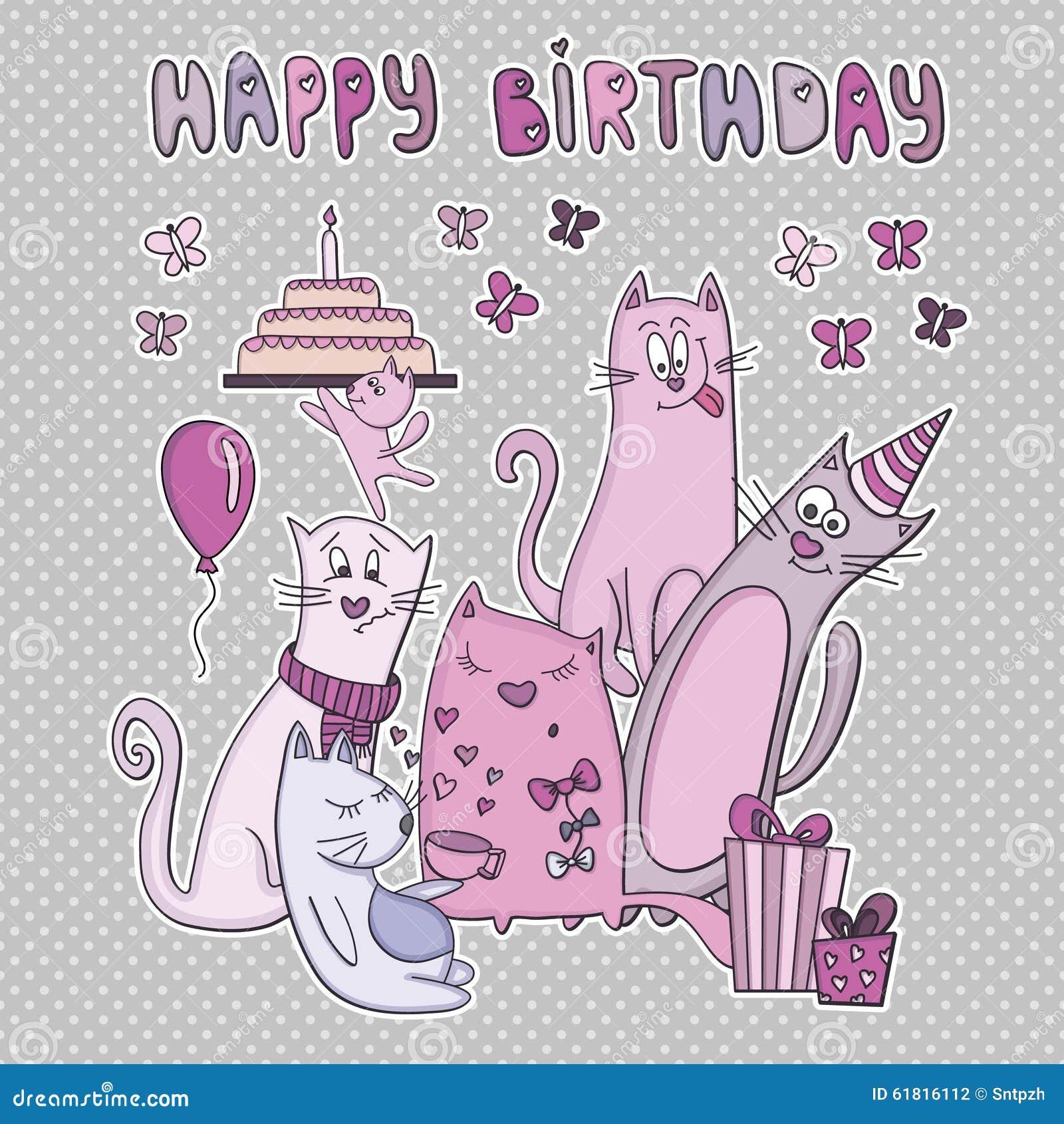 Popolare Biglietto Di Auguri Per Il Compleanno Di Vettore Con I Gatti  EH01