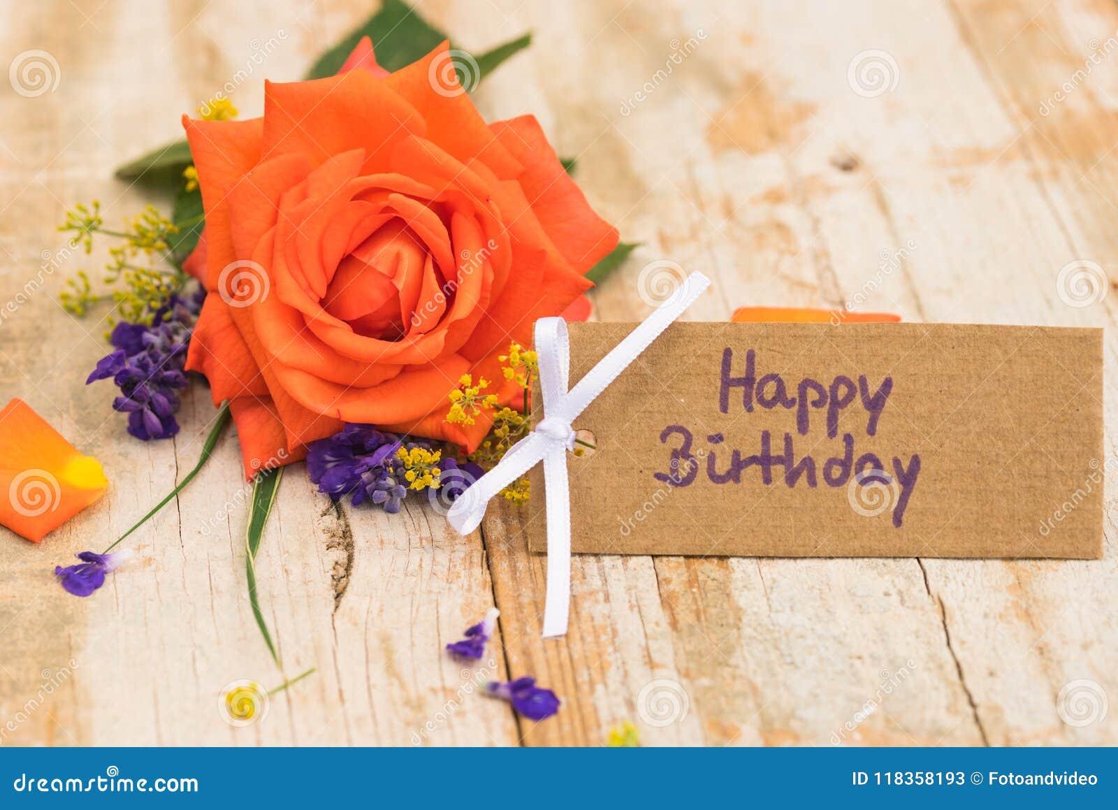 Mazzo Di Fiori Happy Birthday.Biglietto Di Auguri Per Il Compleanno Felice Con Il Bello Mazzo Di