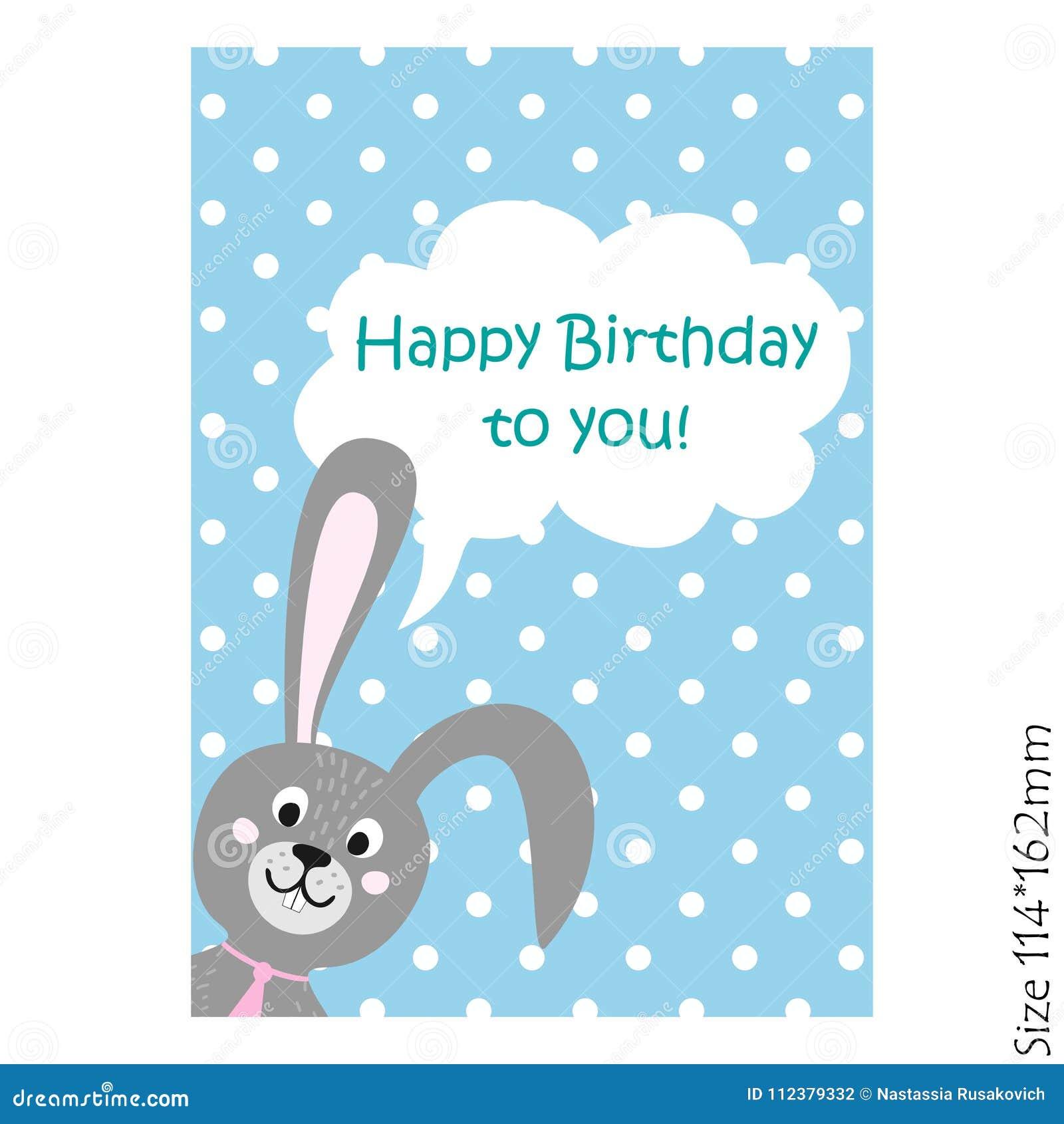Biglietto di auguri per il compleanno felice con il coniglietto