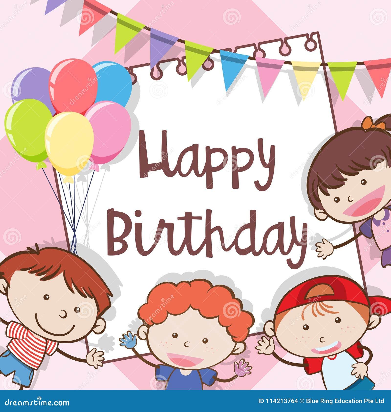 Biglietto Di Auguri Per Il Compleanno Felice Con I Bambini