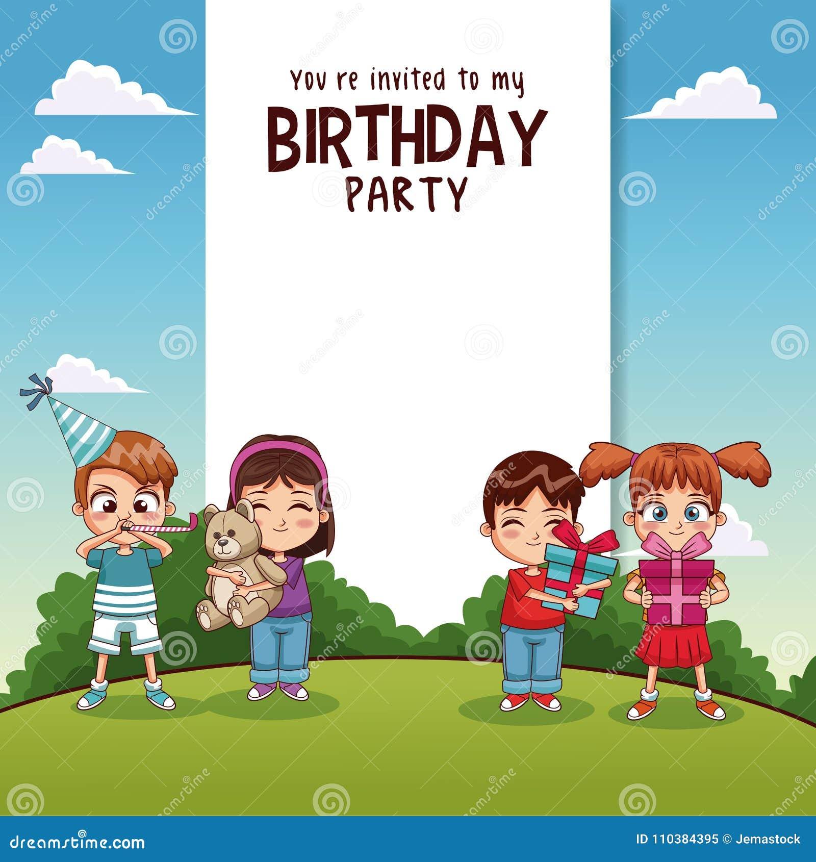 Biglietto Di Auguri Per Il Compleanno Felice Con I Bambini Ed I