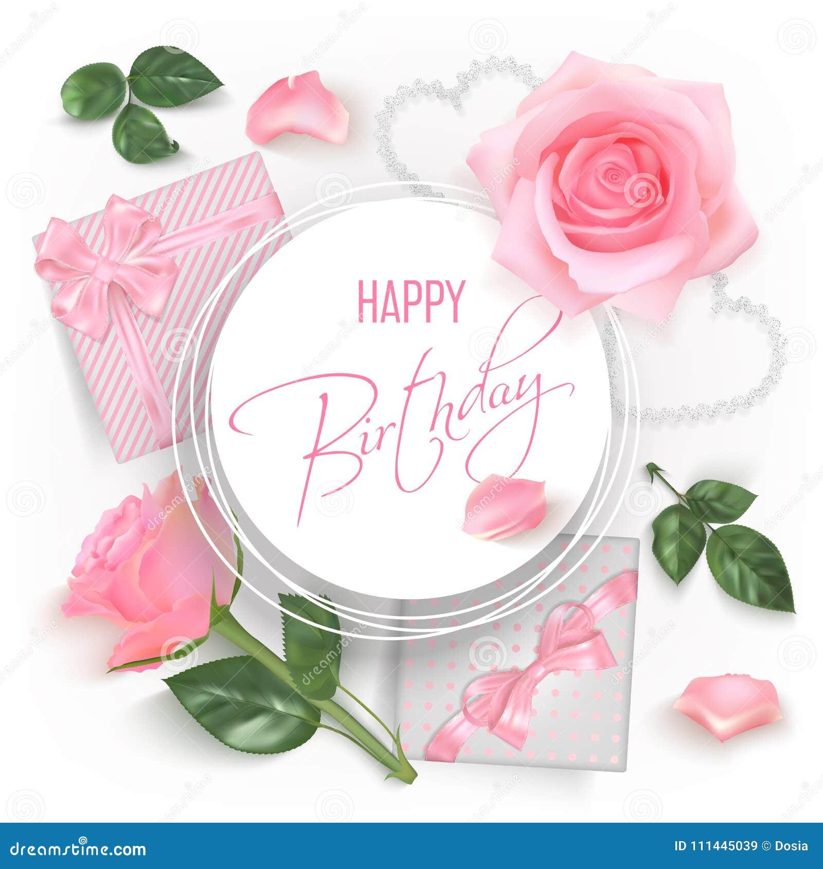 Biglietto Di Auguri Per Il Compleanno Felice Con Le Rose Rosse