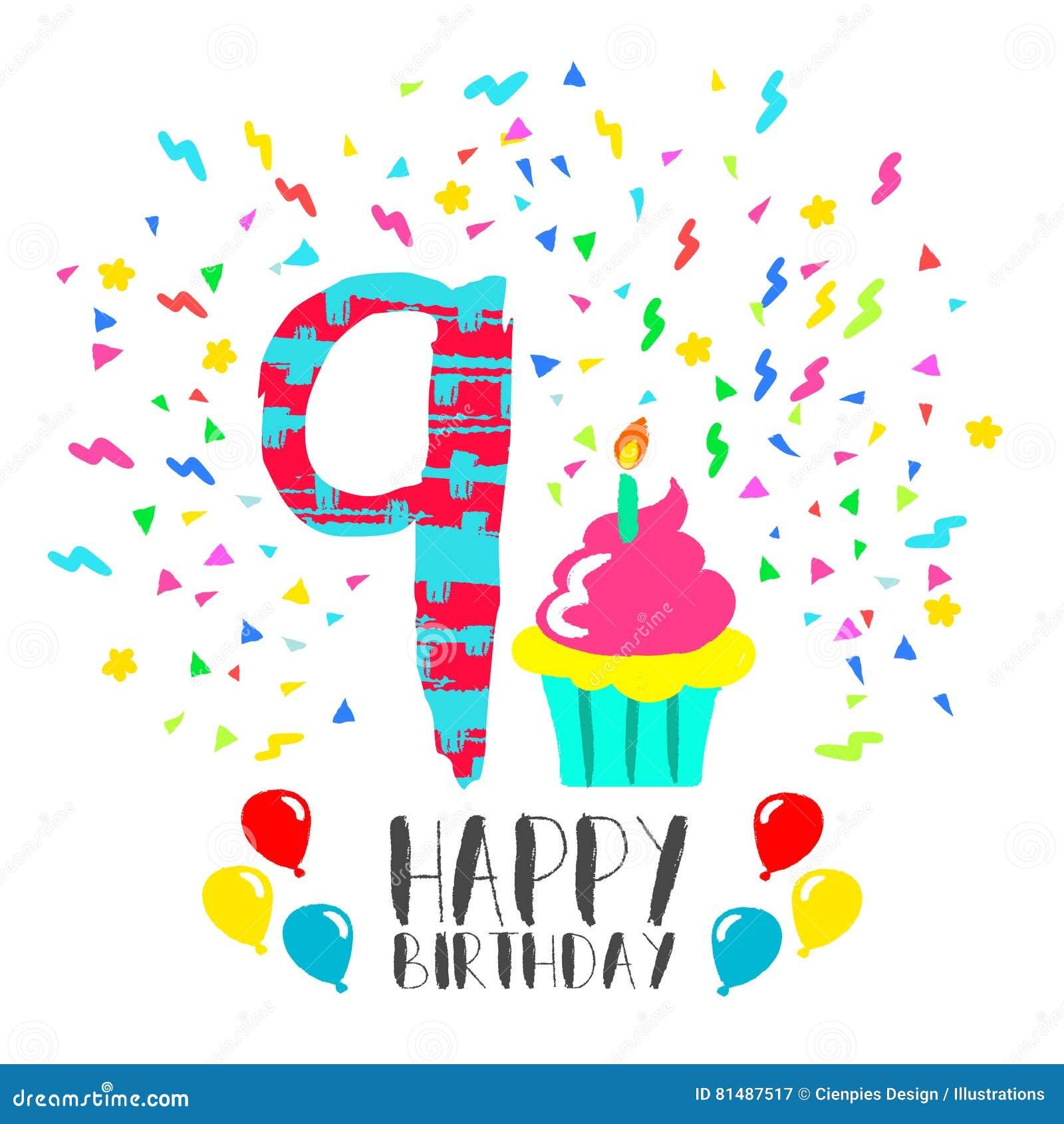 Auguri Di Buon Compleanno Per 9 Anni.Biglietto Di Auguri Per Il Compleanno Felice Per Arte Del
