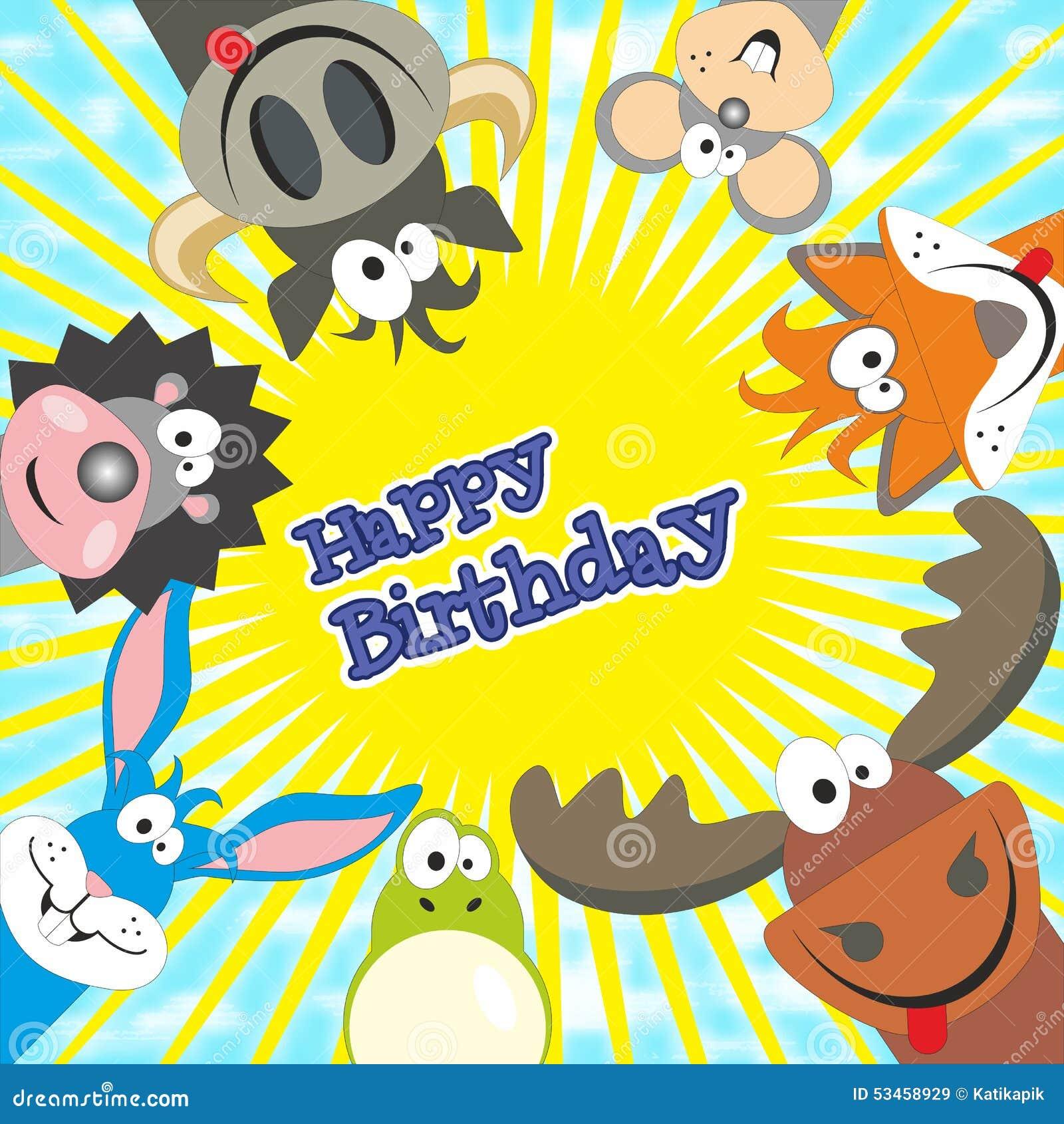 Biglietto Di Auguri Per Il Compleanno Felice Sveglio Con Gli Animali