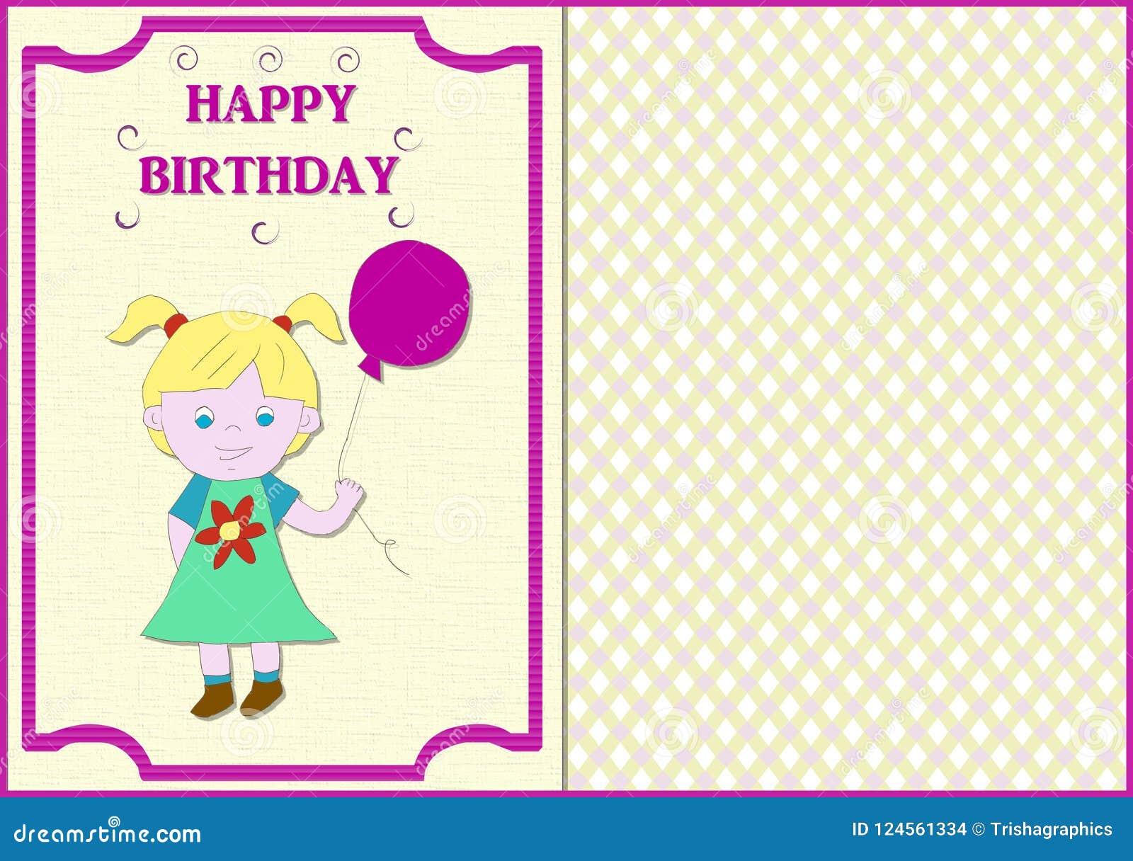 Biglietto Di Compleanno Bambina Illustrazione Di Stock