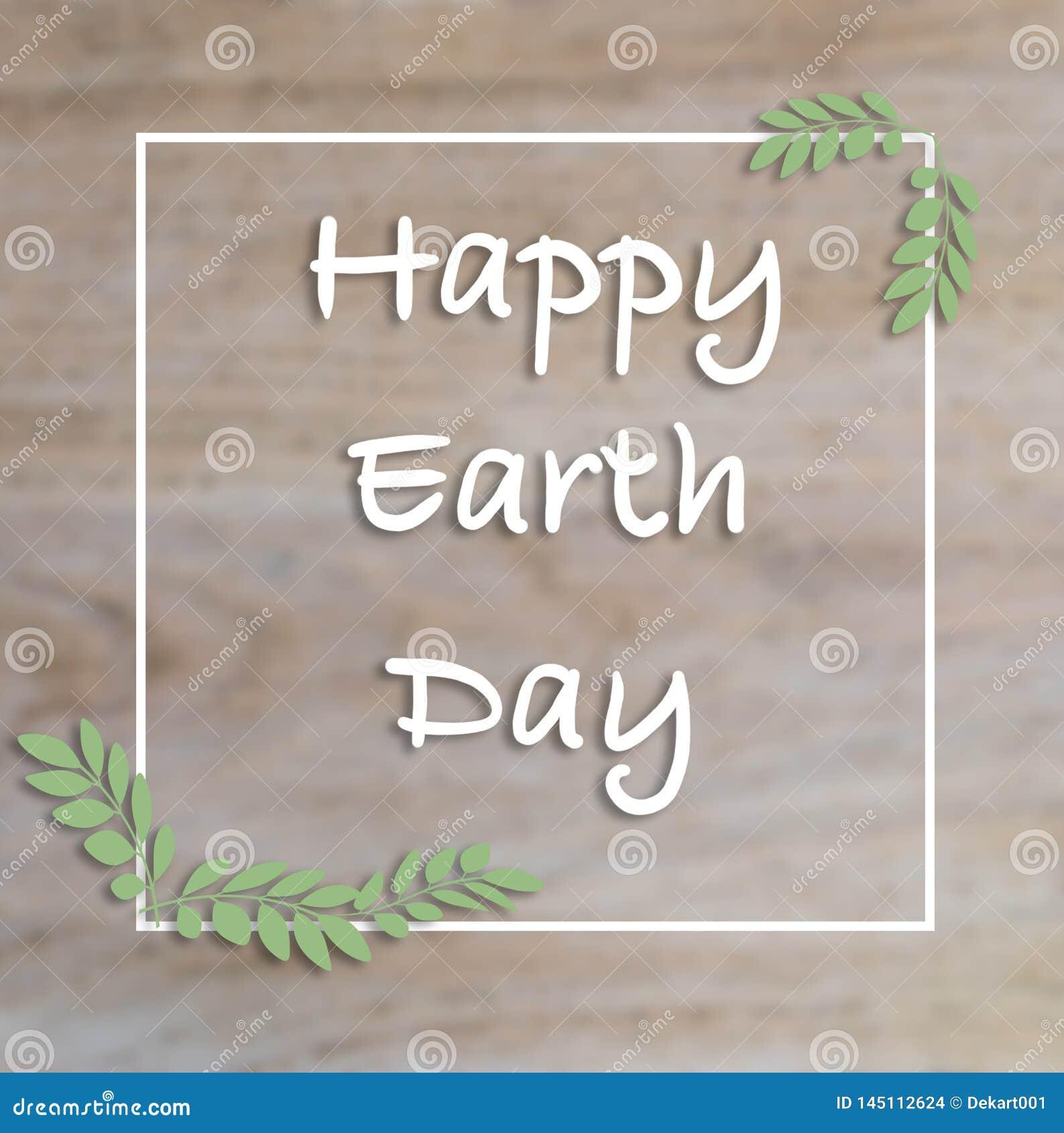 Biglietto postale felice della mano di giornata per la Terra, fondo