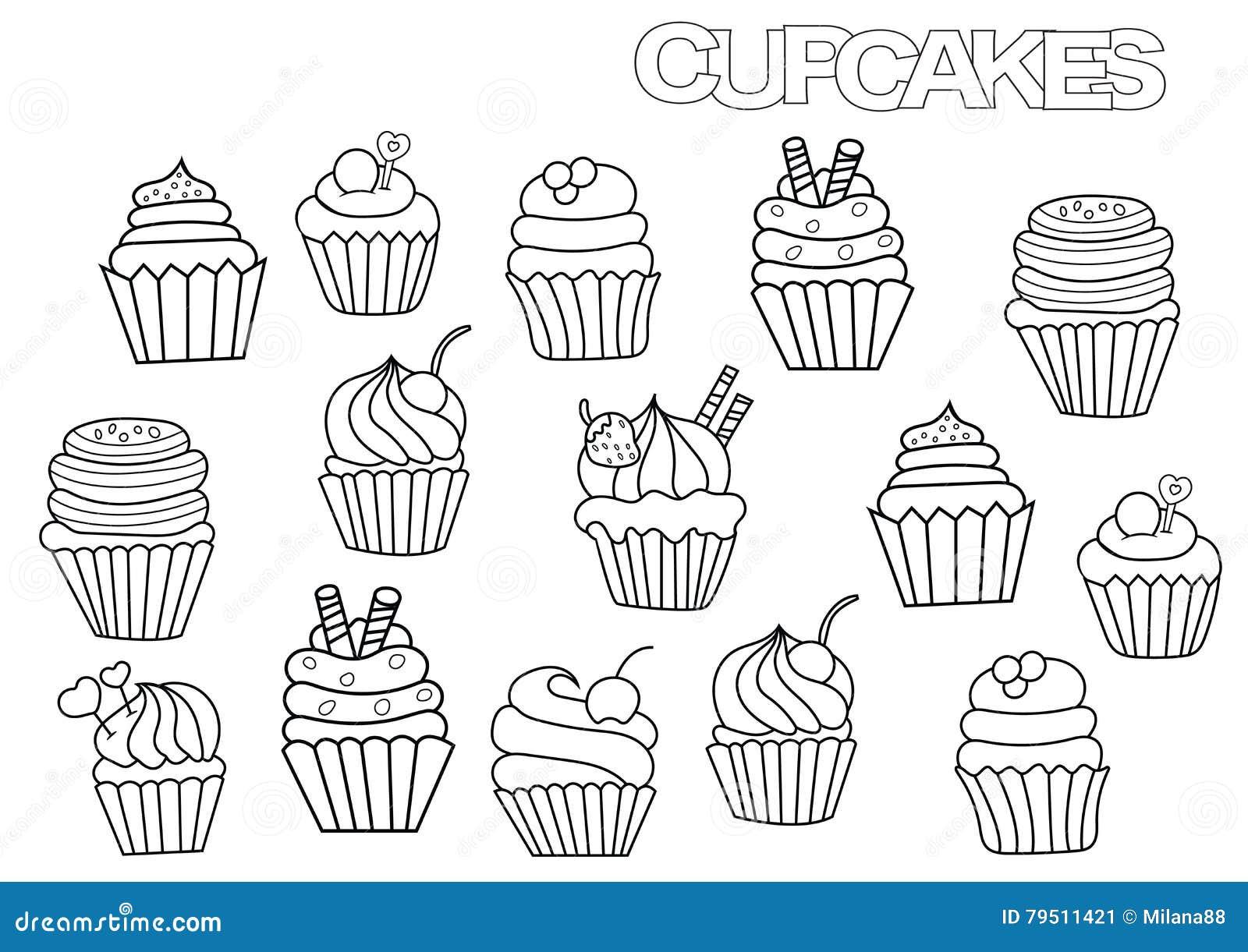 Нарисованные пирожные  клипарт на белом фоне Funny cake