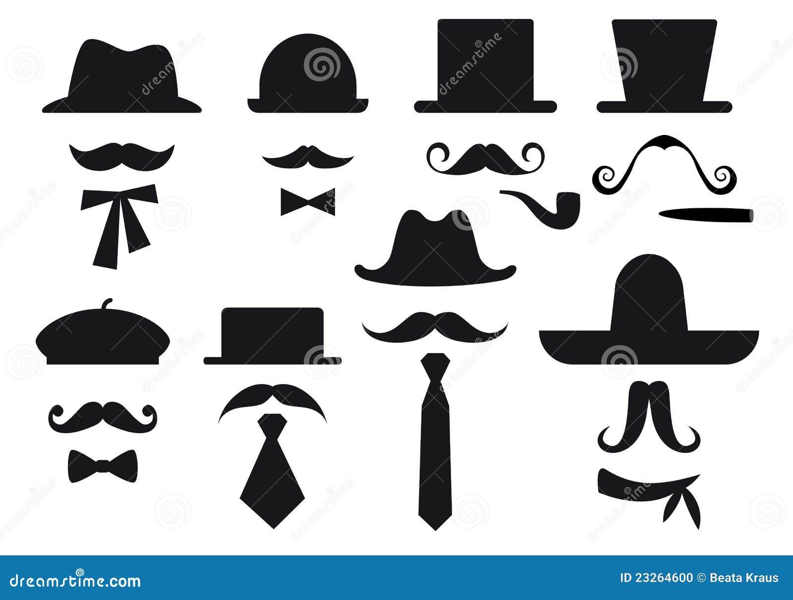 Bigote y sombreros, conjunto del vector