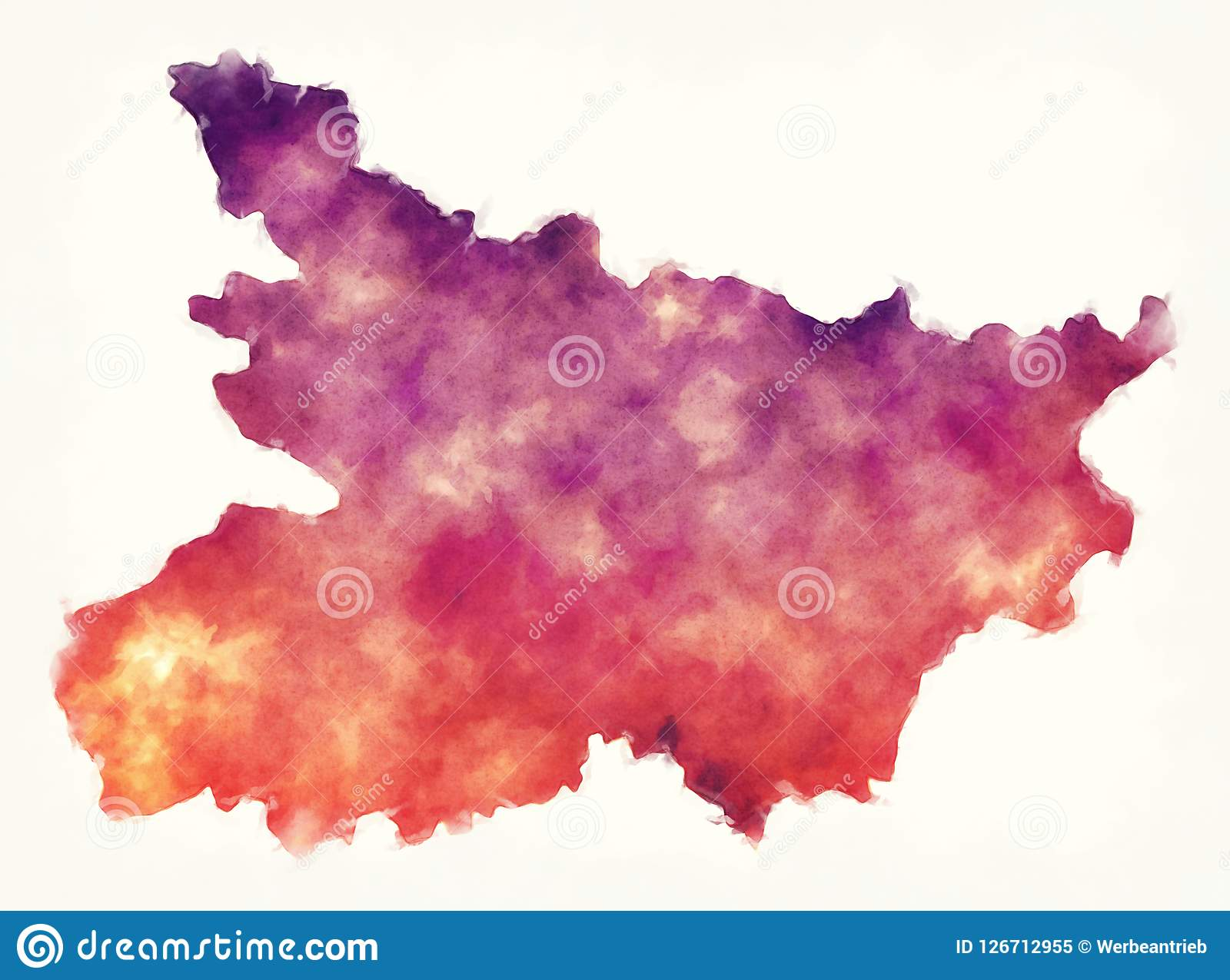 Bihar Federal State Watercolor Map Of India In Front Of A White