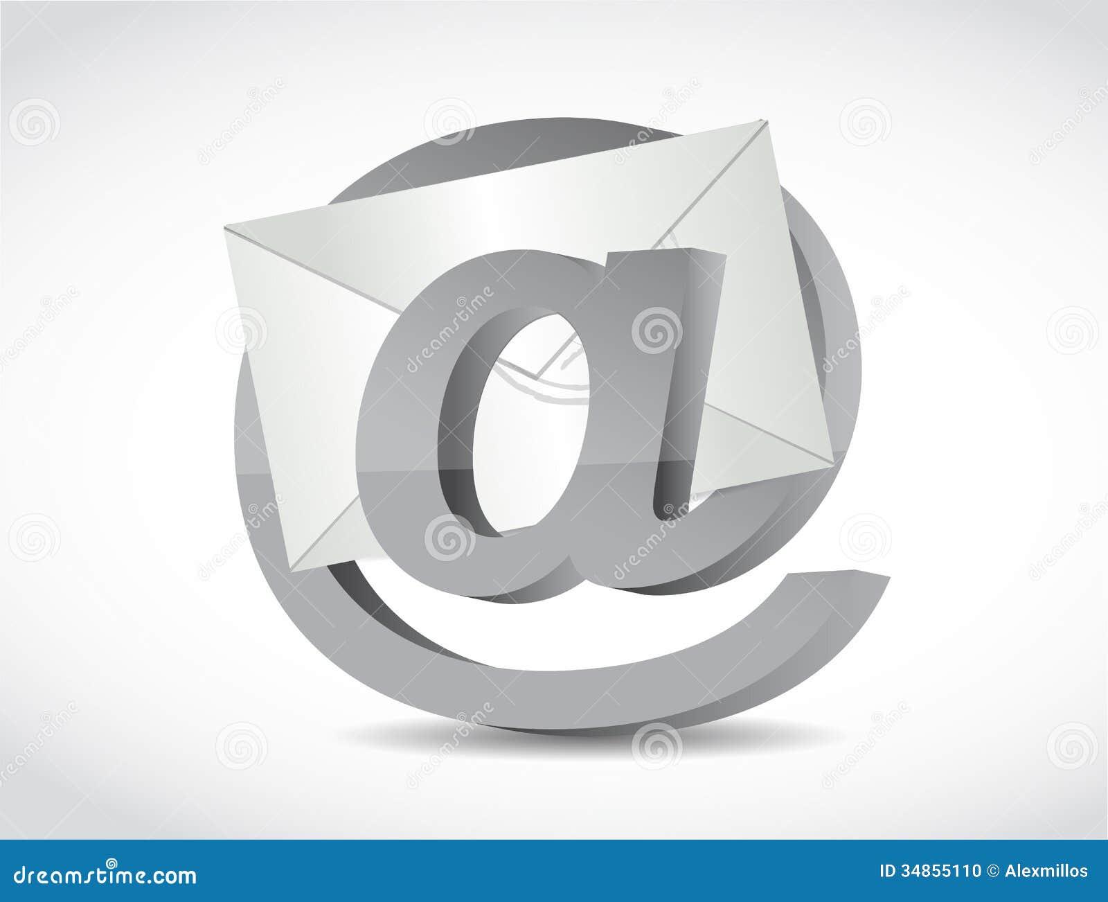 Bij Internet-symbool en e-mailillustratie