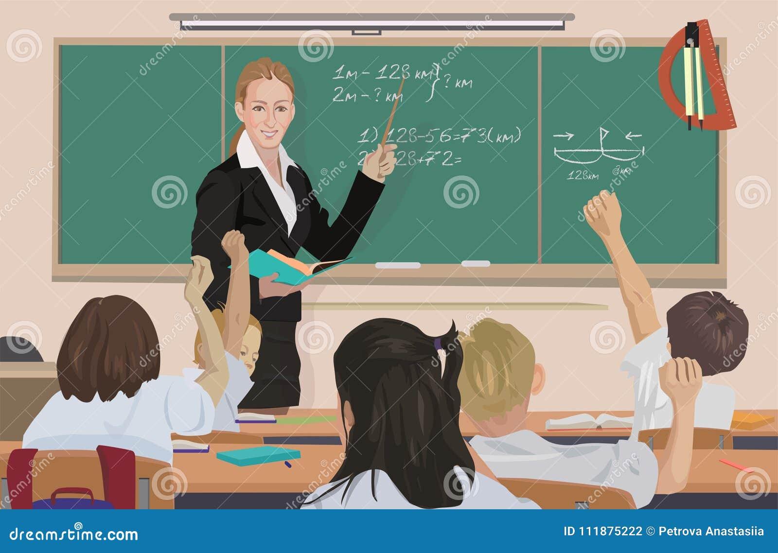 Bij klaslokaal onderwijst de leraar wiskunde