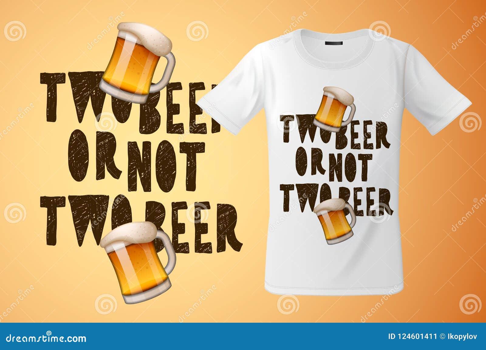 Bij twee of niet twee bierslogan grafisch voor t-shirtontwerp, moderne druk, herinneringen en ander gebruik, vectorillustratie
