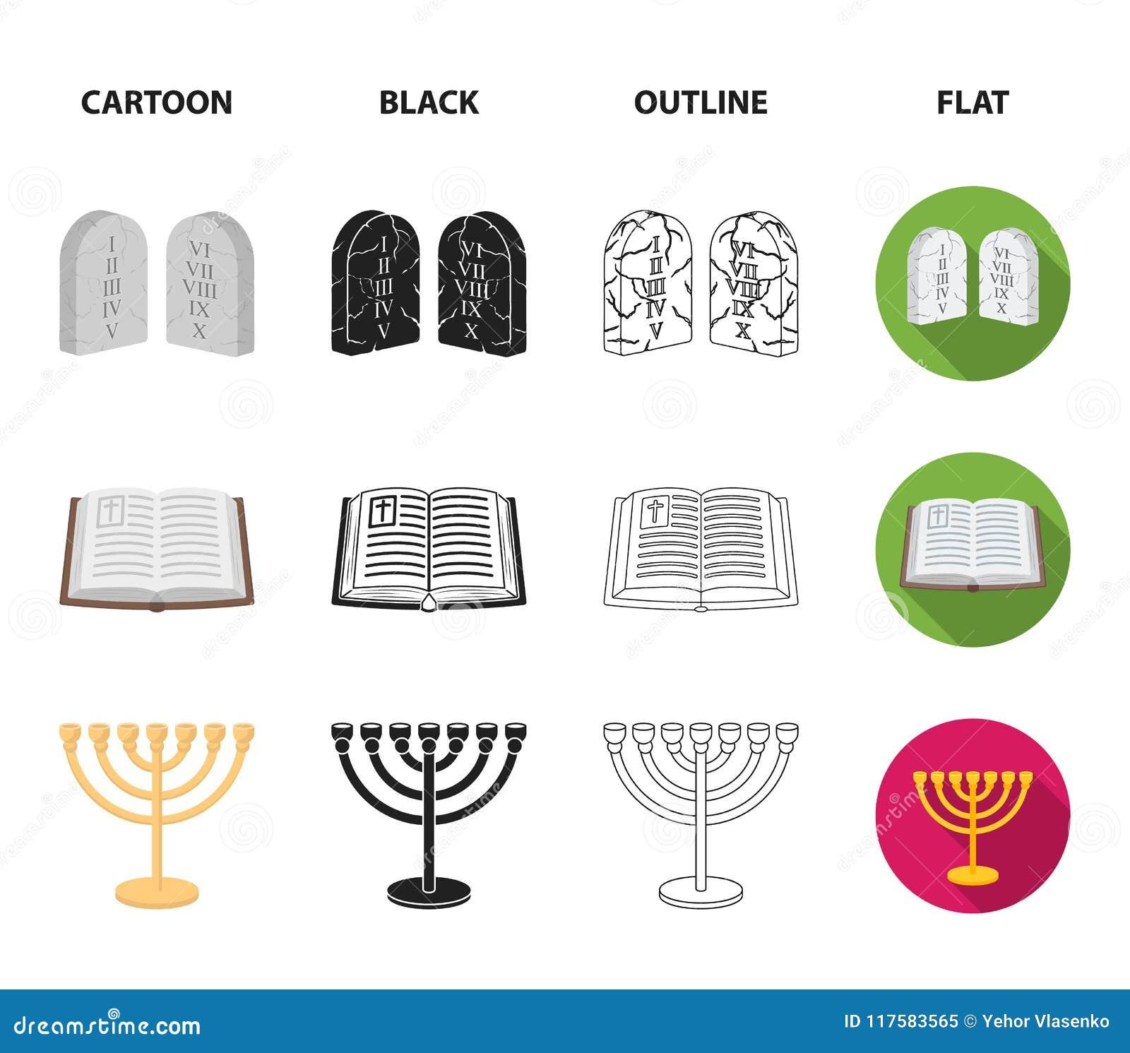 Bijbel, menorah, hamsa, orthodox kruis Pictogrammen van de godsdienst de vastgestelde inzameling in beeldverhaal, zwarte, overzic