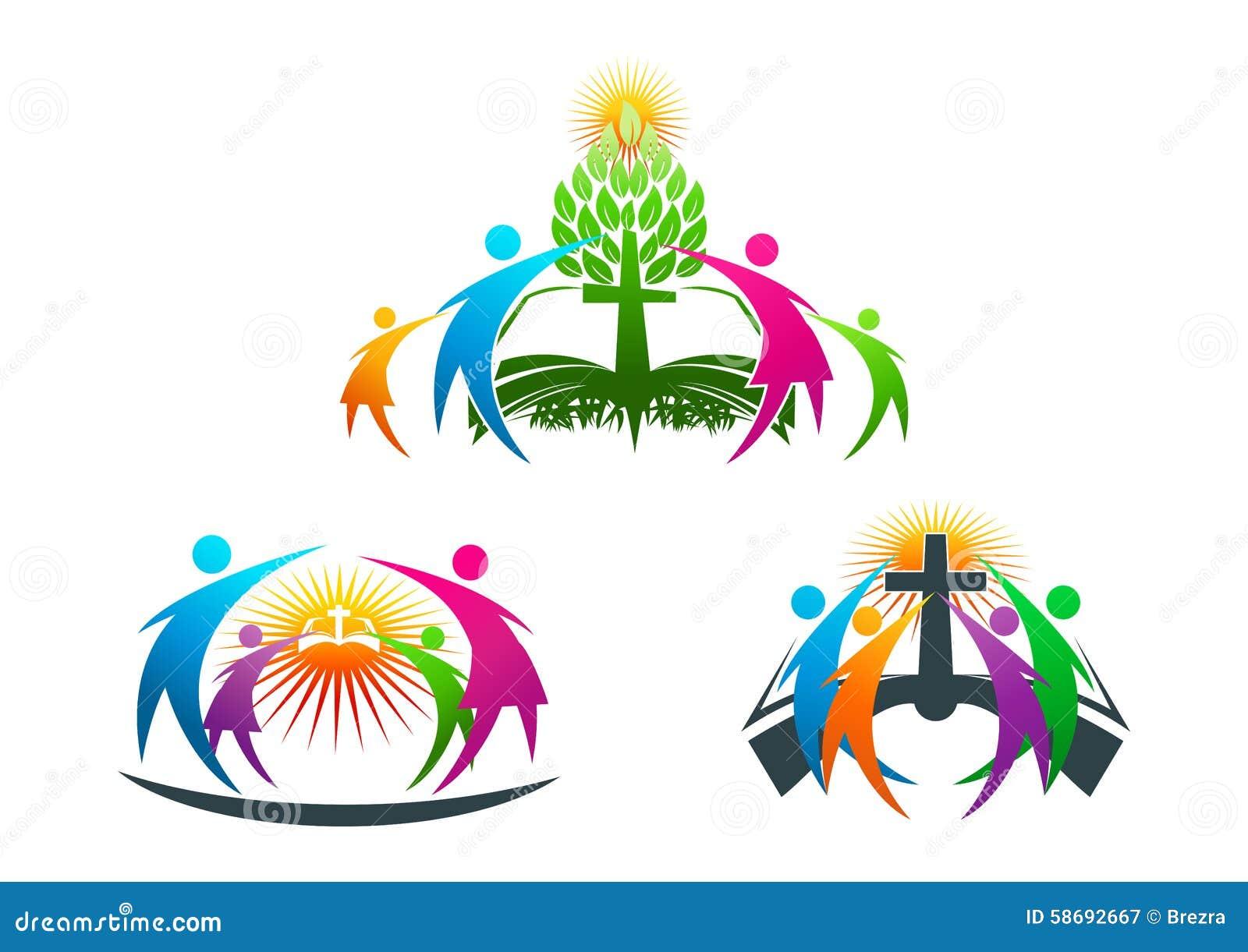 Bijbel, mensen, boom, wortel, christen, embleem, familie, boek, kerk, vector, symbool, ontwerp