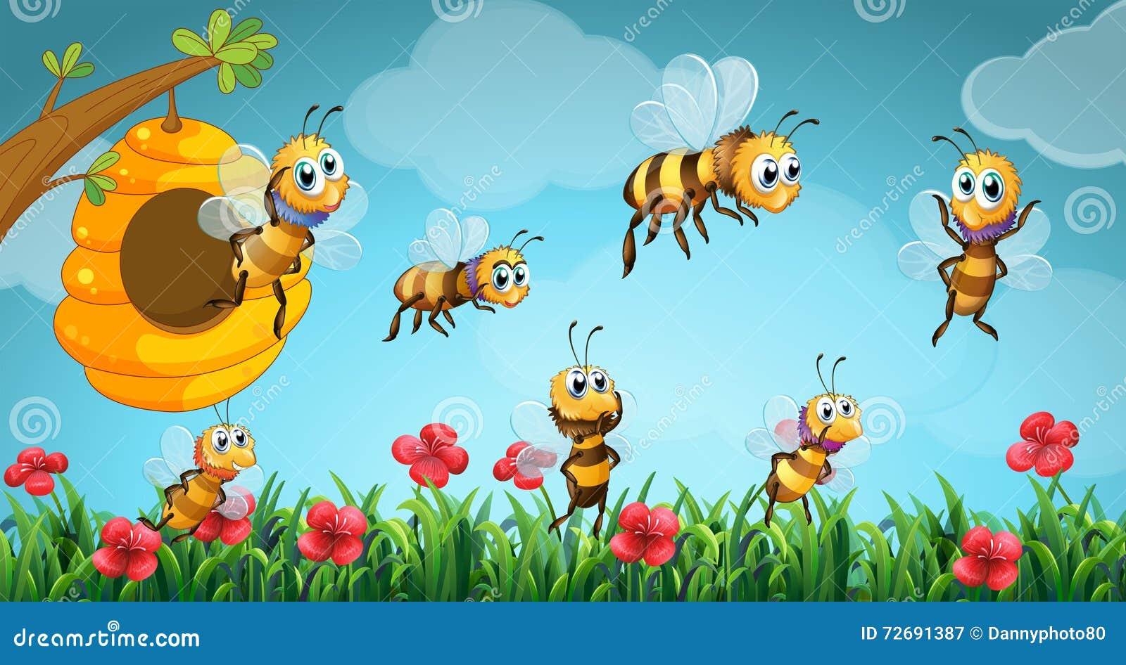 Bijen die uit bijenkorf in de tuin vliegen vector for Vliegen in de tuin