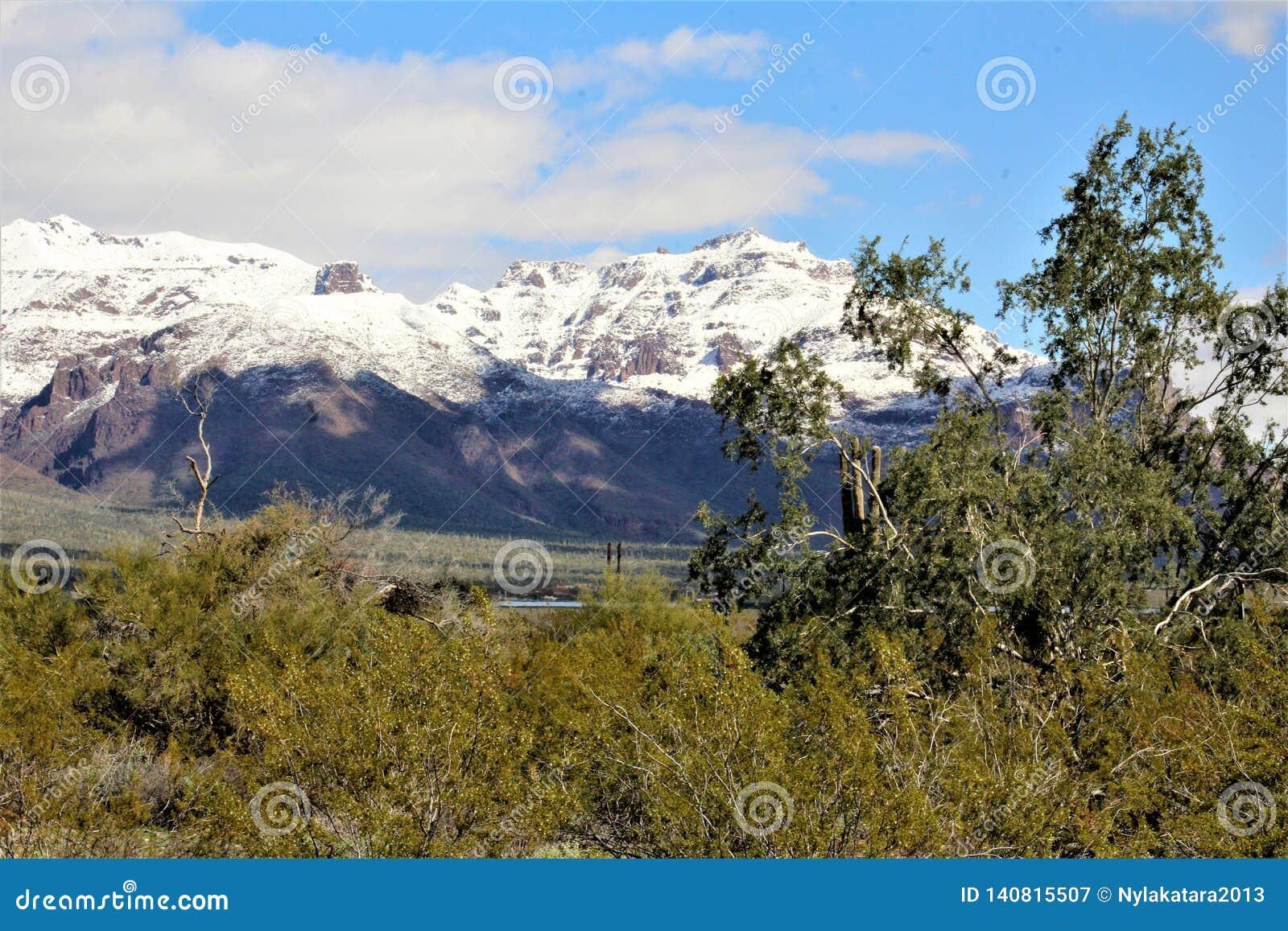 Bijgeloofbergen Arizona, het Nationale Bos van Tonto, Apache-Verbinding, Arizona, Verenigde Staten