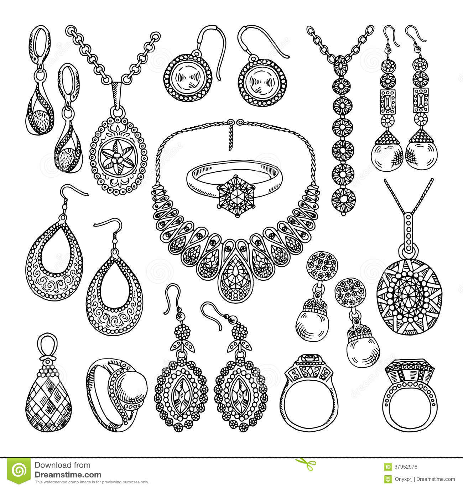 Bijoux Dessin bijoux d'or et argentés différents diamants et cristaux