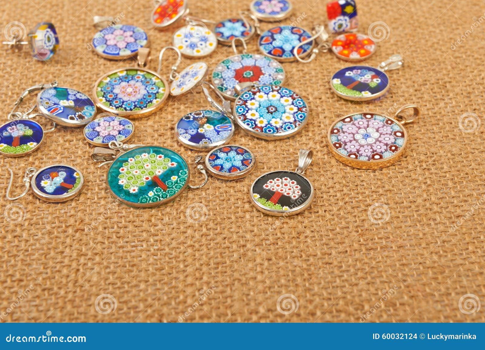 bijoux en verre de murano photo stock image 60032124. Black Bedroom Furniture Sets. Home Design Ideas