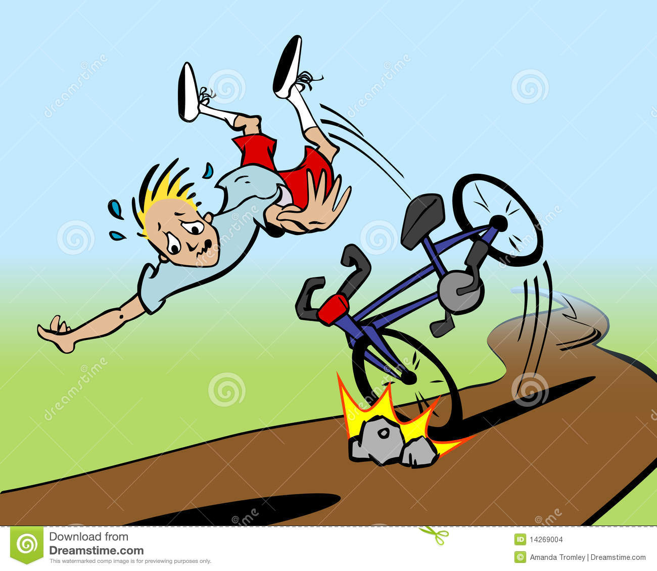 Cartoon of man being thrown from his bicycle.