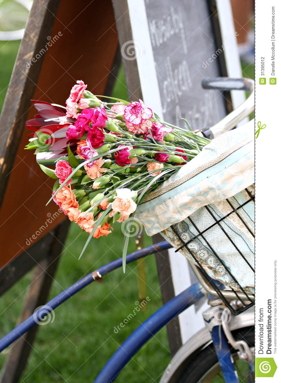 Bike Basket With Flowers Stock Photo Image Of Basket