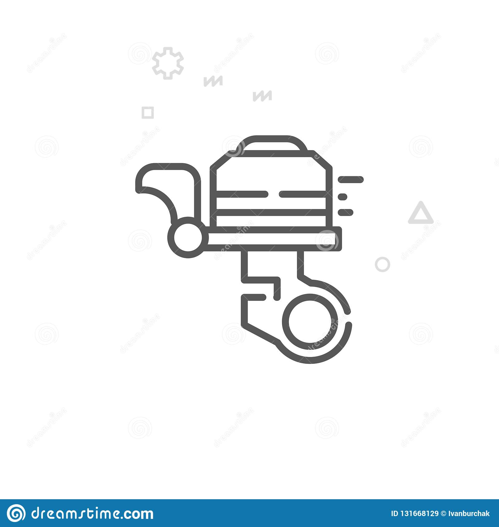 Bike or Bicycle Bell Vector Line Icon, Symbol, Pictogram, Sign. Light Abstract Geometric Background. Editable Stroke